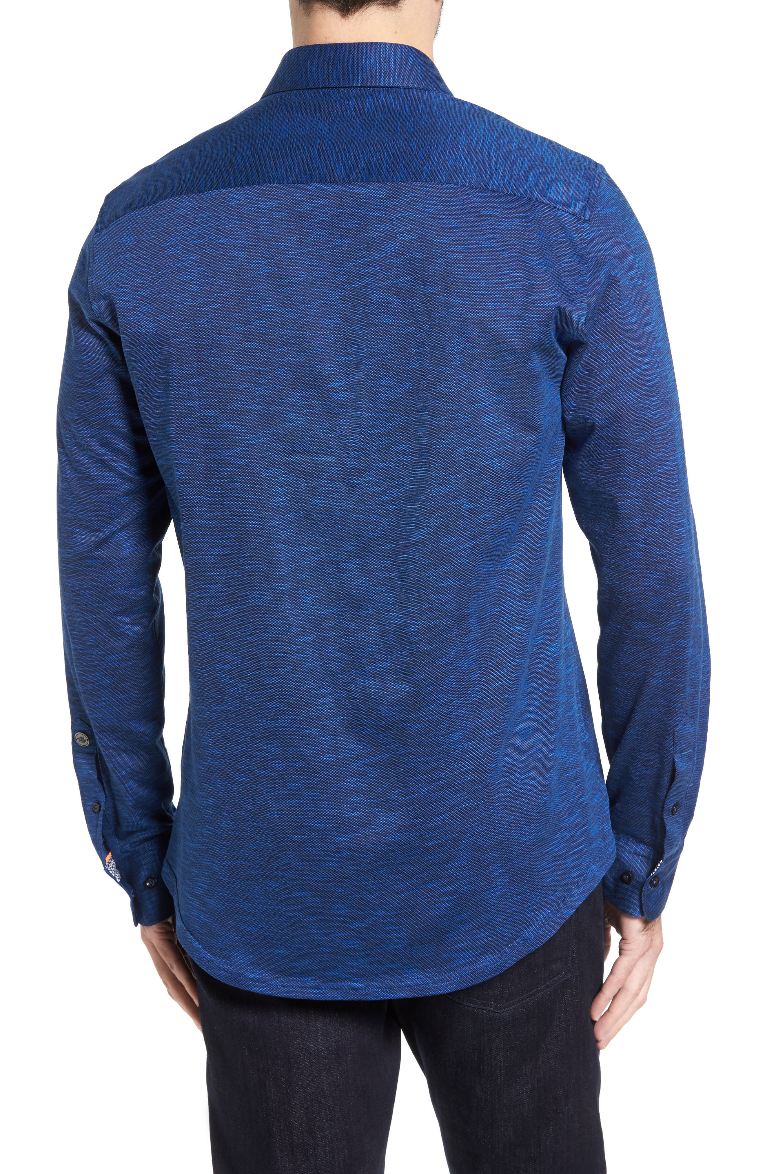 Flamé Knit Sport Shirt,                             Alternate thumbnail 2, color,                             Navy