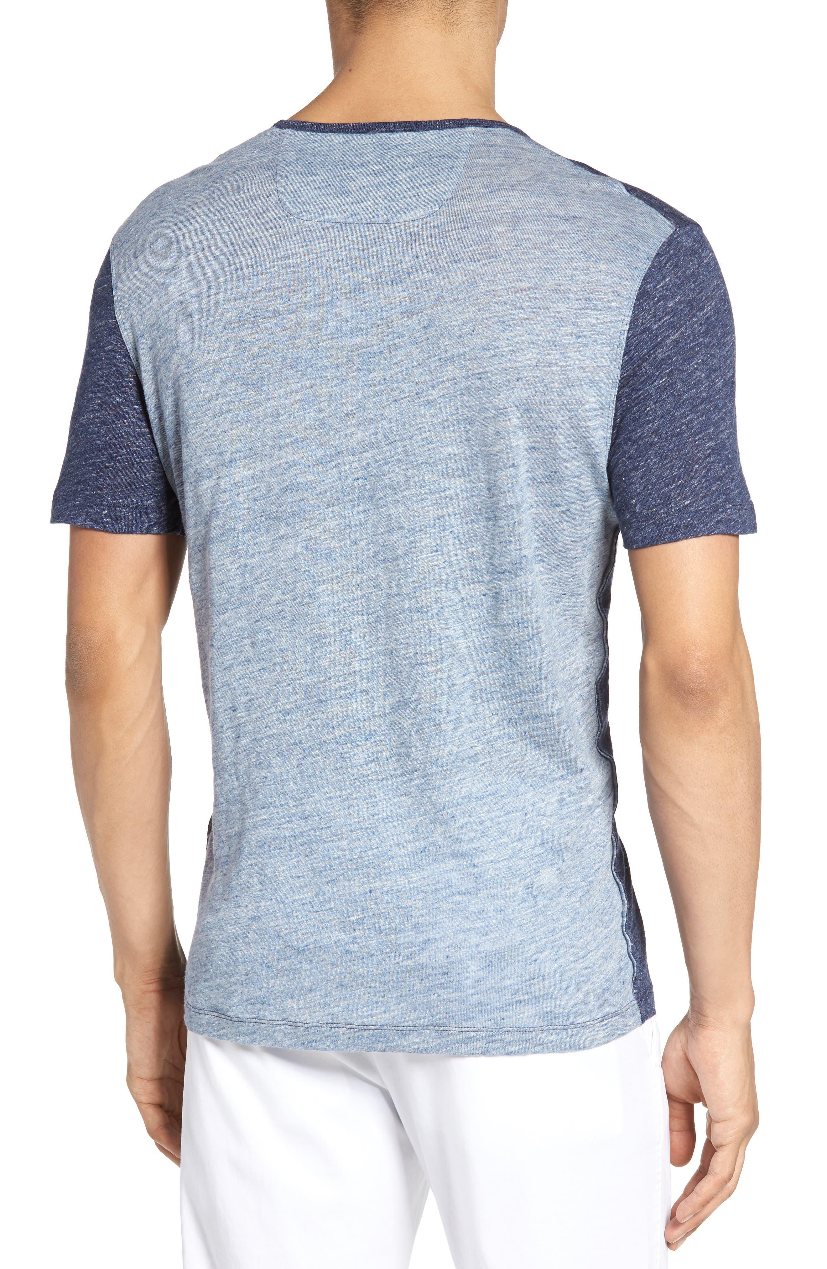 Monad Colorblock Linen T-Shirt,                             Alternate thumbnail 3, color,                             Blue Mountain