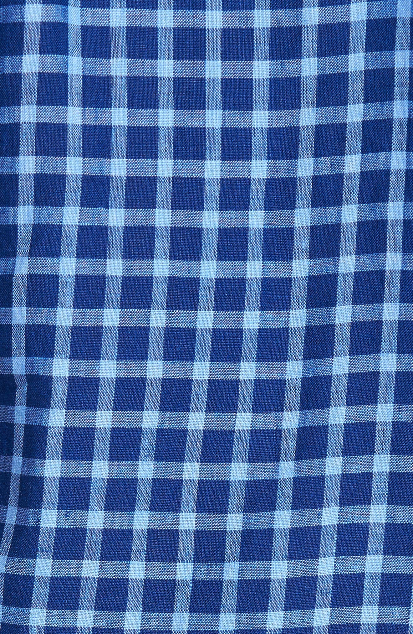 Ray Plaid Linen Sport Shirt,                             Alternate thumbnail 5, color,                             Pacific