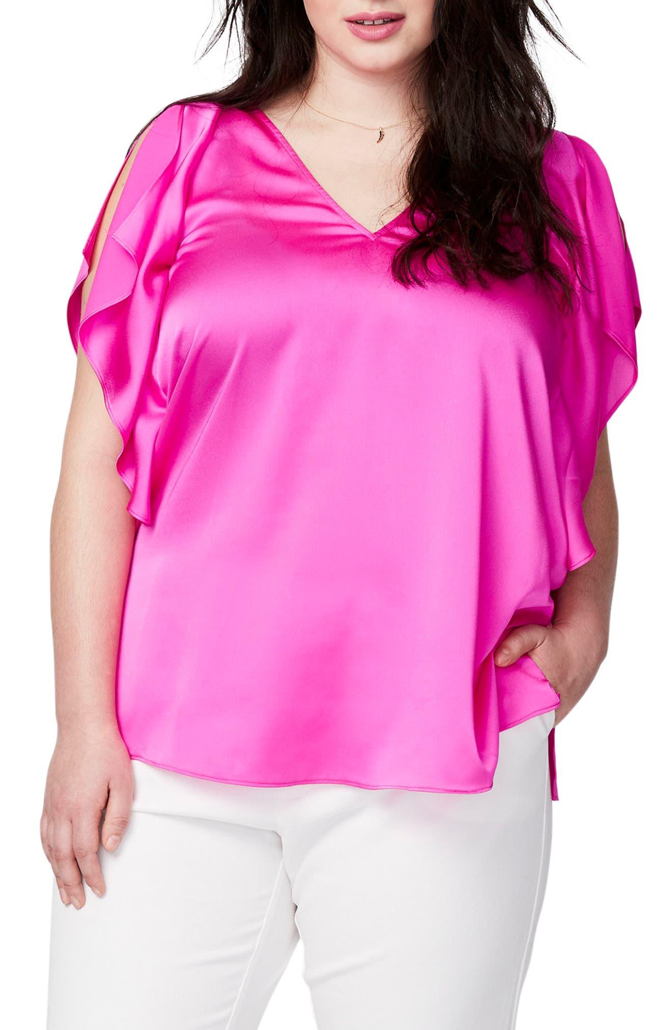Flutter Sleeve Top,                         Main,                         color, Bikini Pink