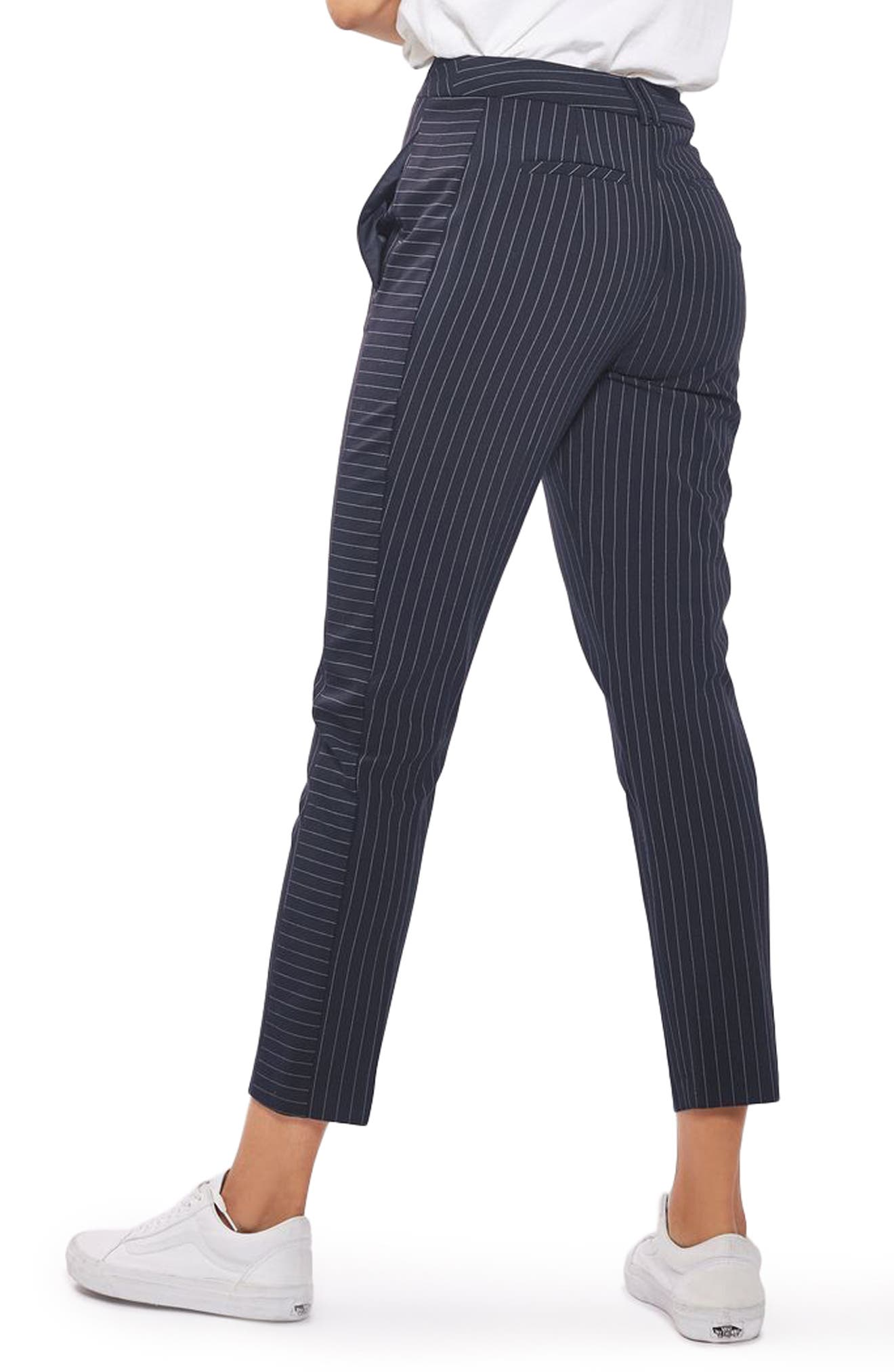 Cut About Pinstripe Cigarette Trousers,                             Alternate thumbnail 3, color,                             Navy Blue