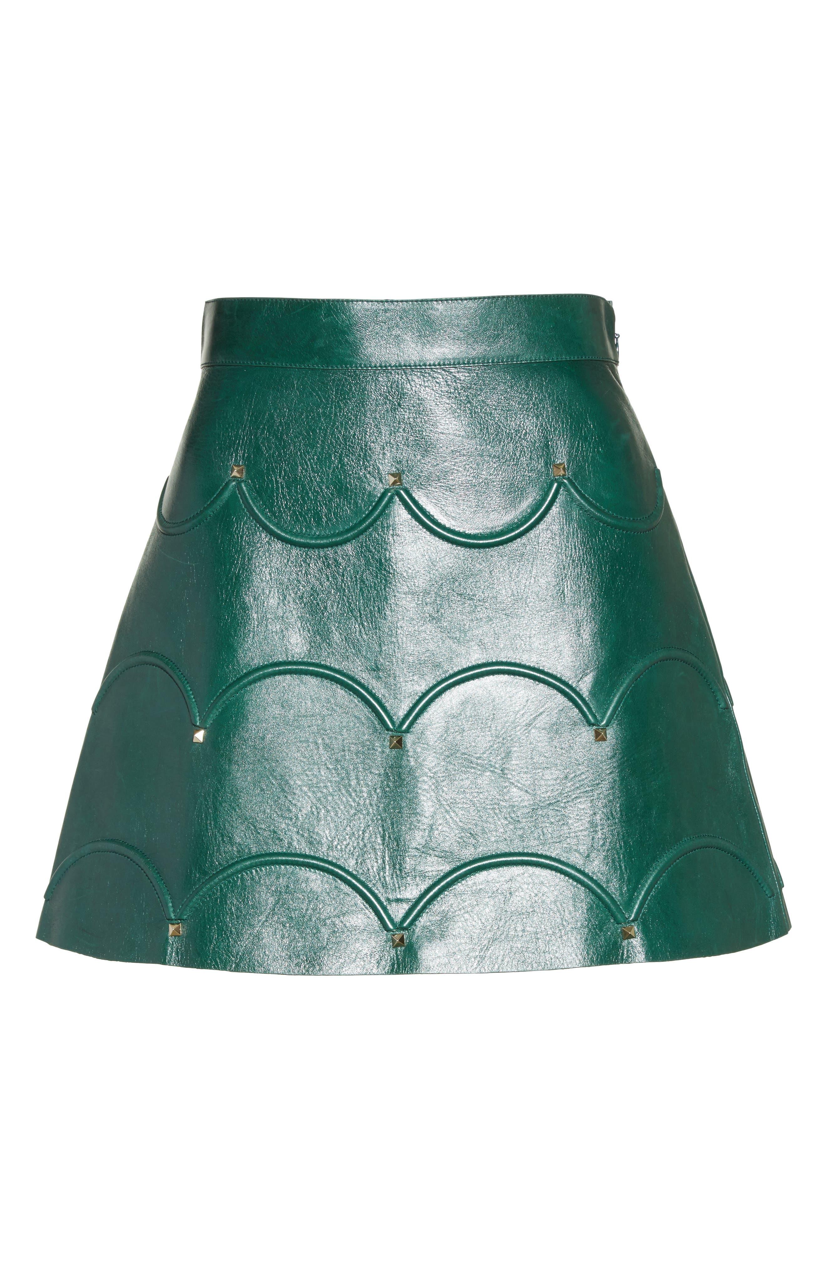 Alternate Image 4  - Valentino Scallop Detail Leather Miniskirt