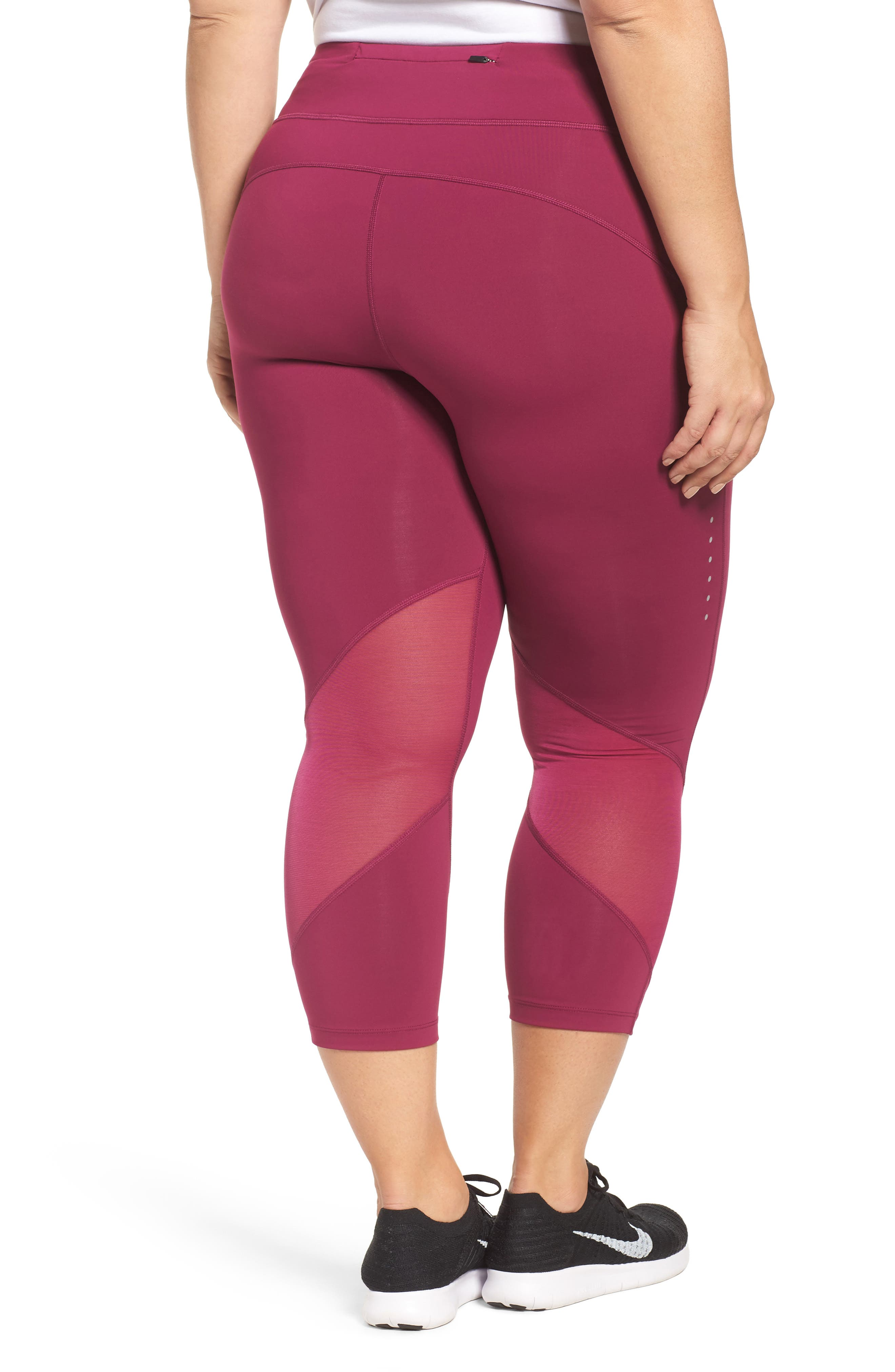 Power Epic Crop Run Tights,                             Alternate thumbnail 2, color,                             True Berry