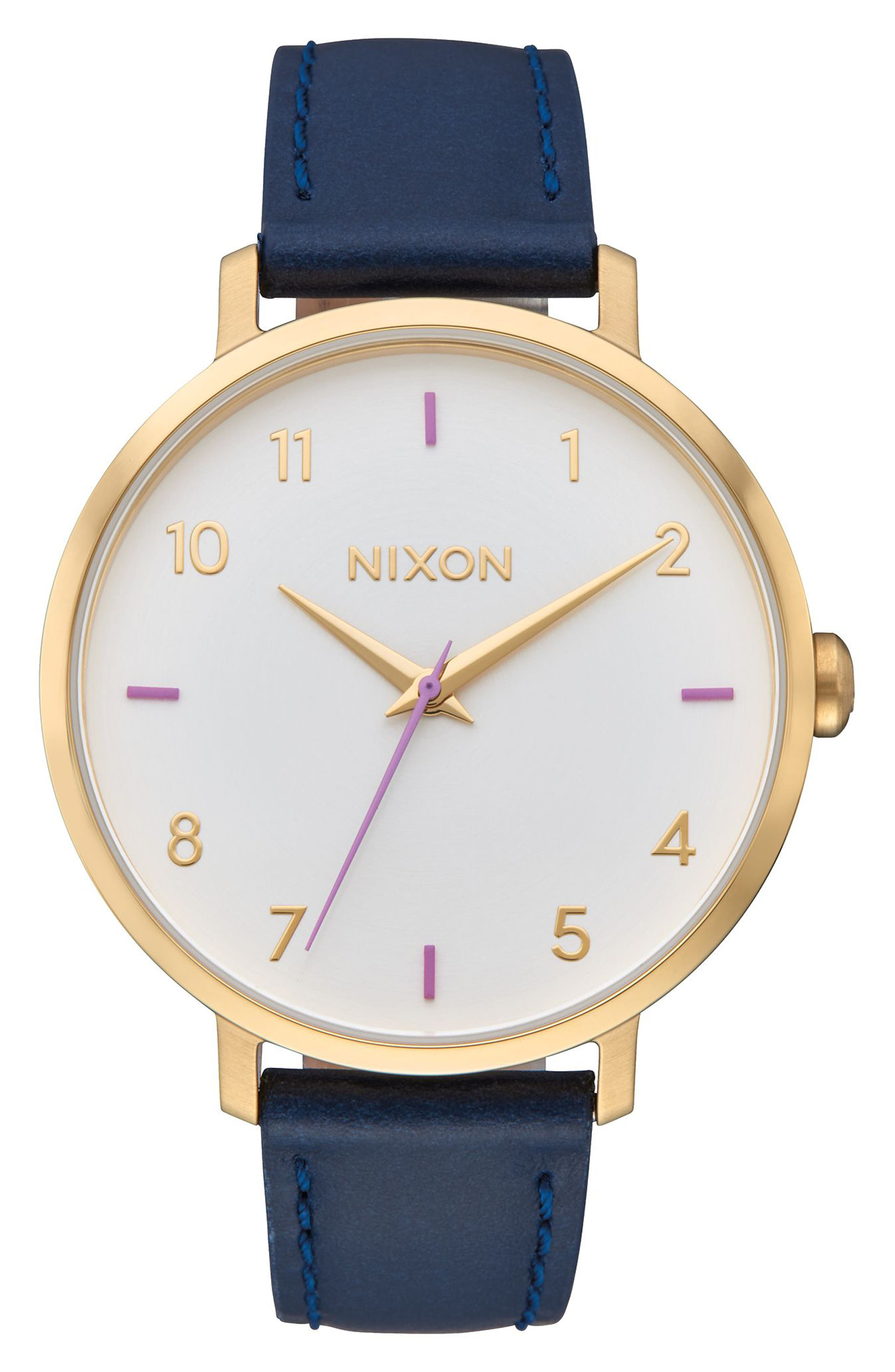 The Arrow Leather Strap Watch, 38mm,                             Main thumbnail 1, color,                             Navy/ White/ Gold