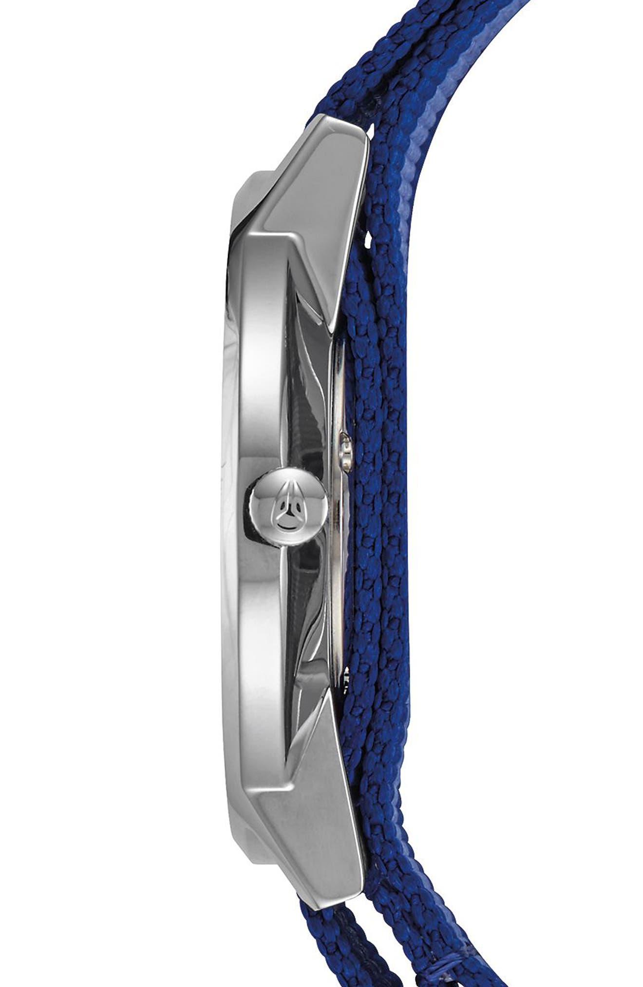 Porter Nylon Strap Watch, 40mm,                             Alternate thumbnail 3, color,                             Navy/ Silver