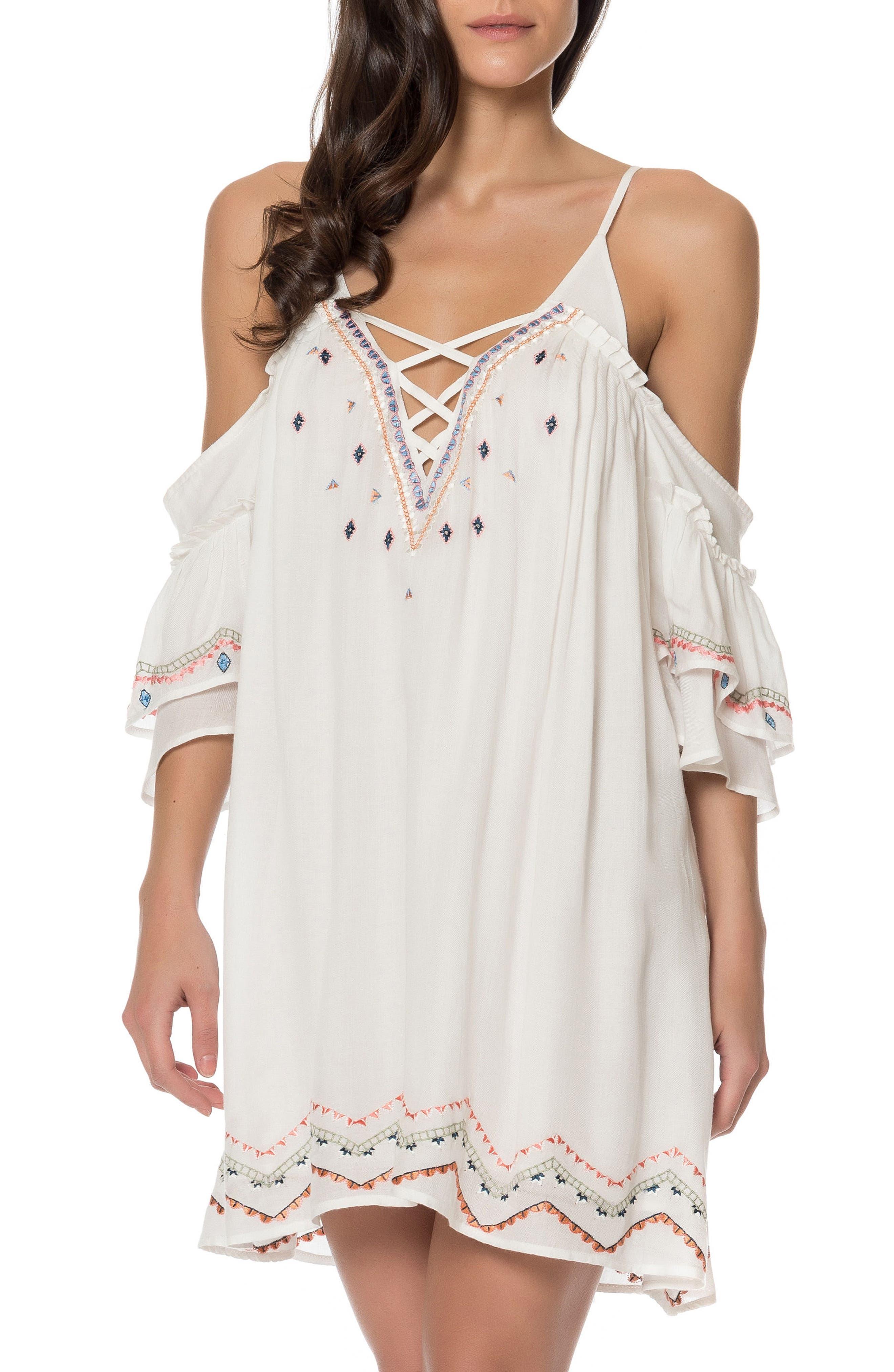 Naples Cold Shoulder Dress,                         Main,                         color, Ivory Multi