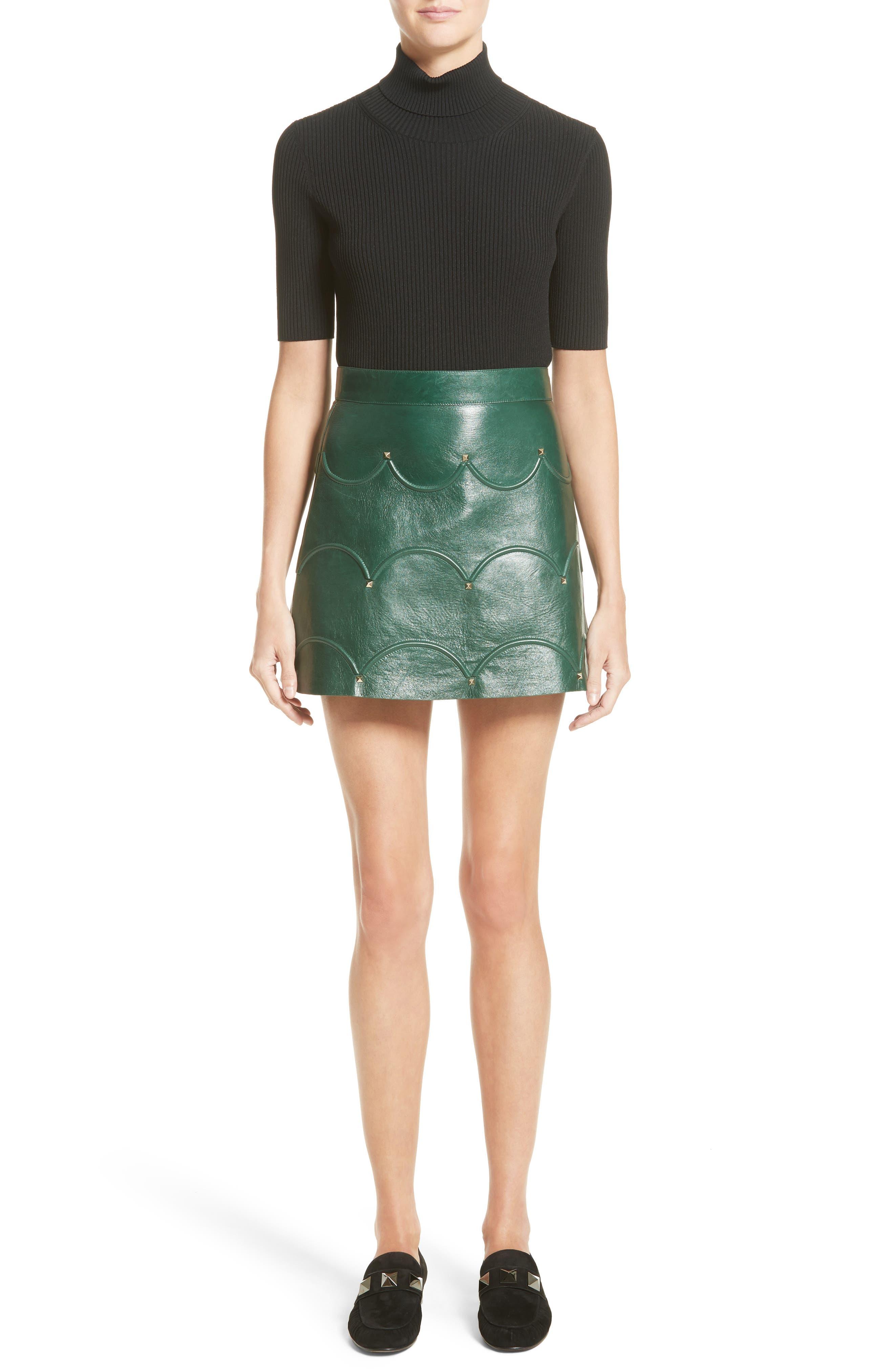 Alternate Image 7  - Valentino Scallop Detail Leather Miniskirt