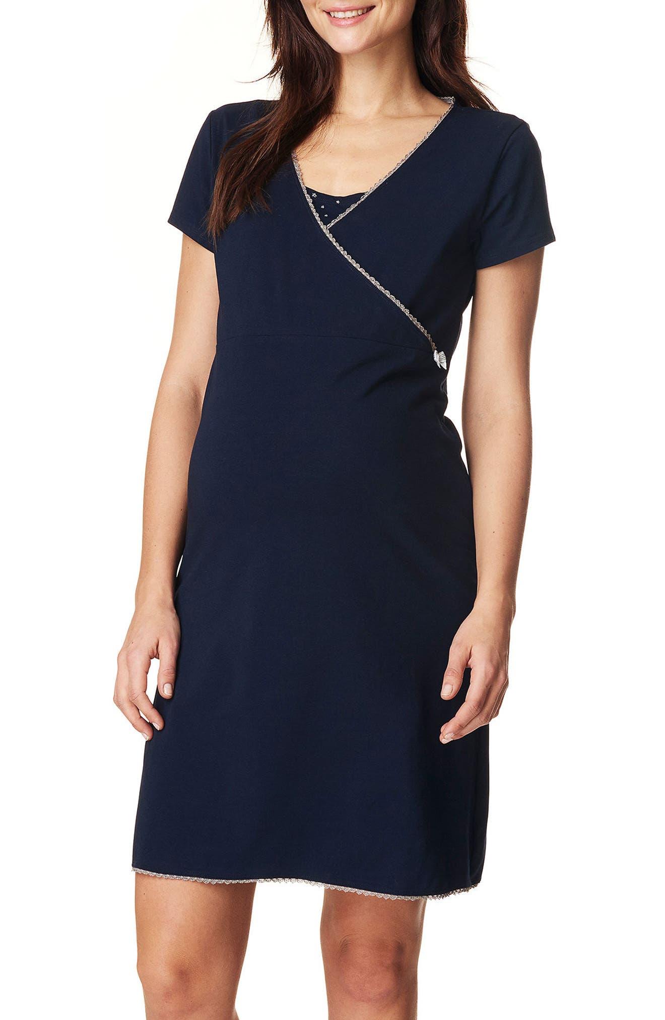 Kimm Maternity/Nursing Jersey Dress,                         Main,                         color, Blue