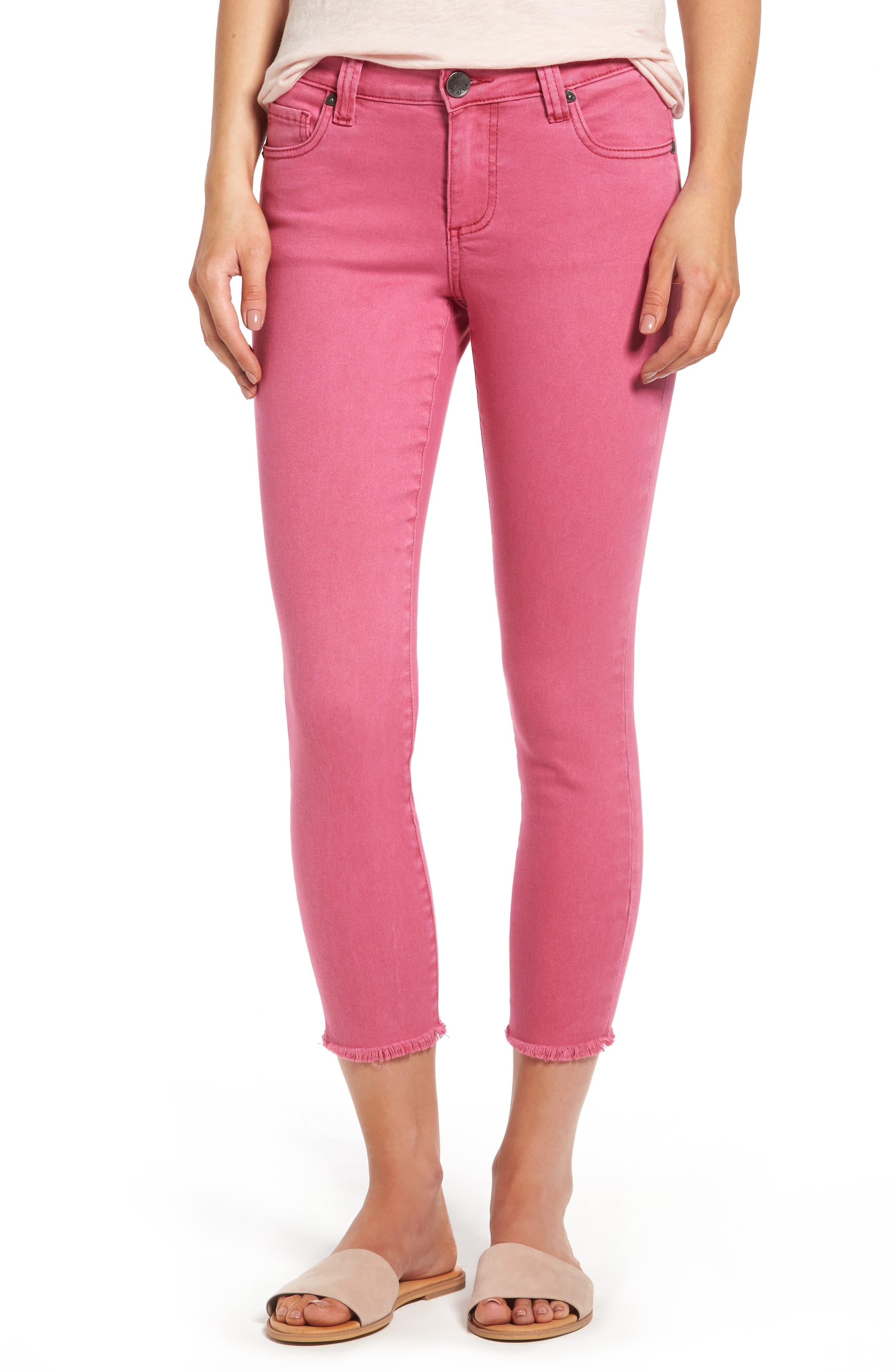 Main Image - KUT from the Kloth Connie Frayed Hem Crop Skinny Jeans (Hot Pink)
