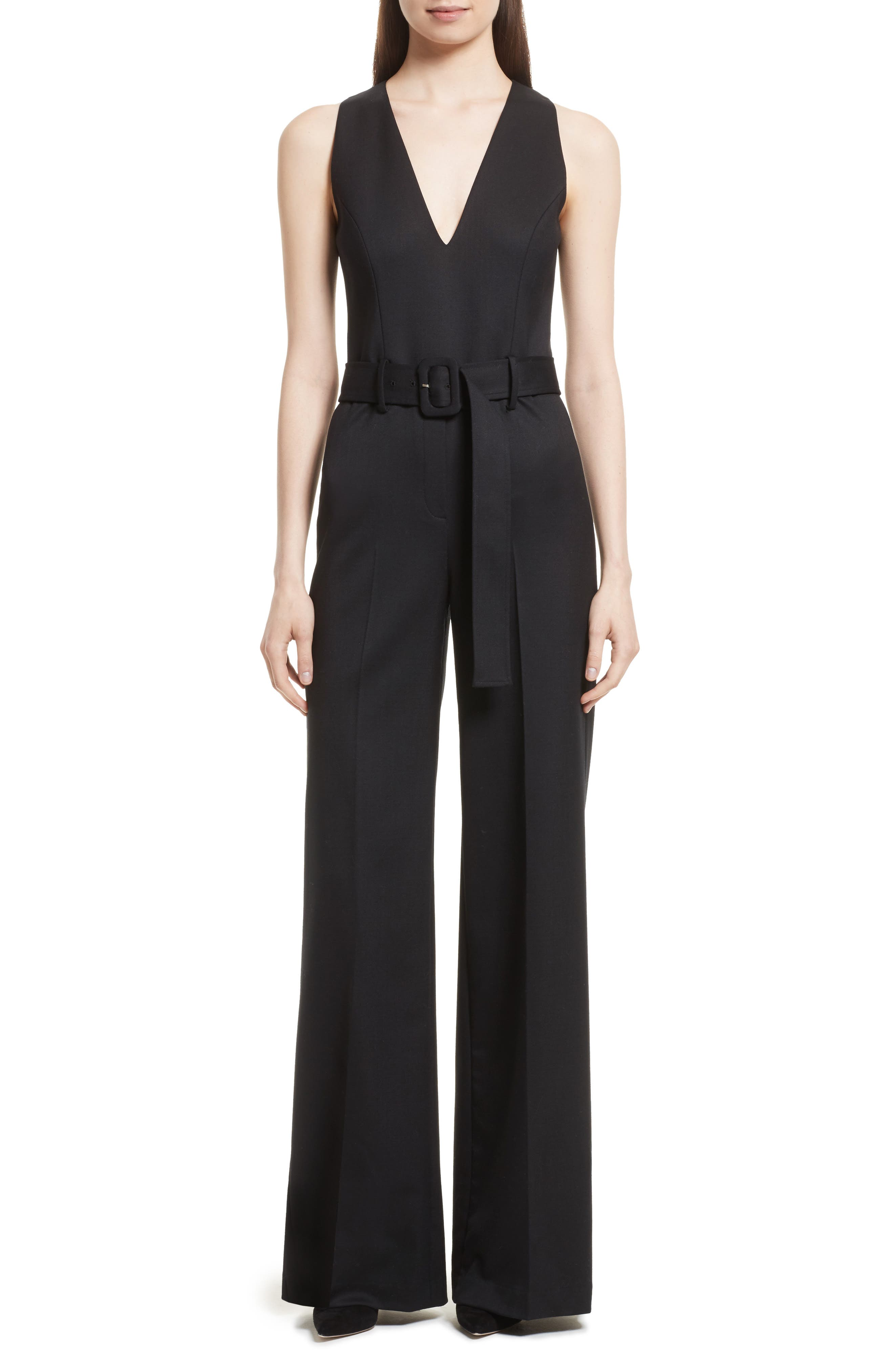 Tuxedo Wool Belted Jumpsuit,                             Main thumbnail 1, color,                             Black