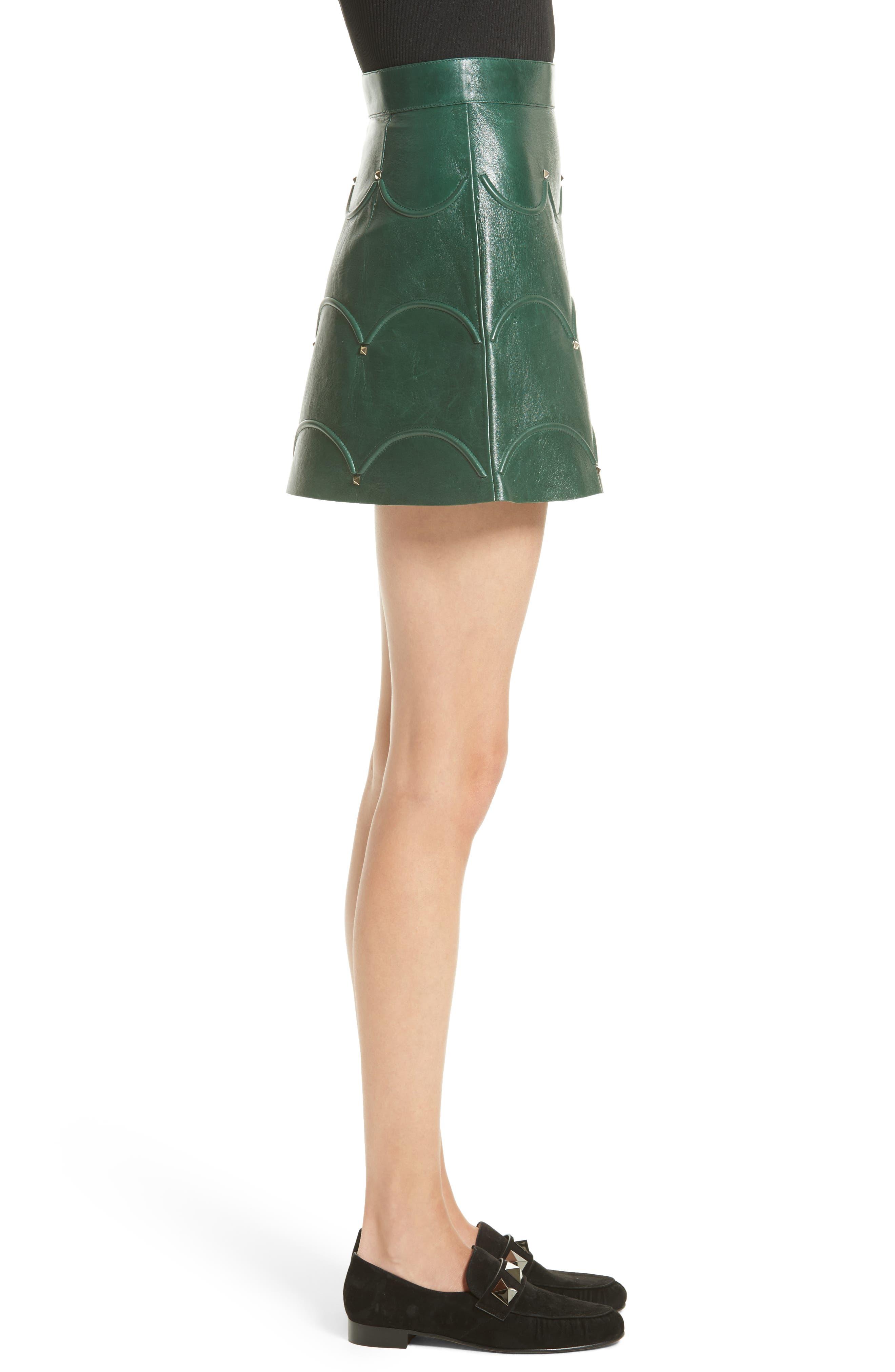 Alternate Image 5  - Valentino Scallop Detail Leather Miniskirt