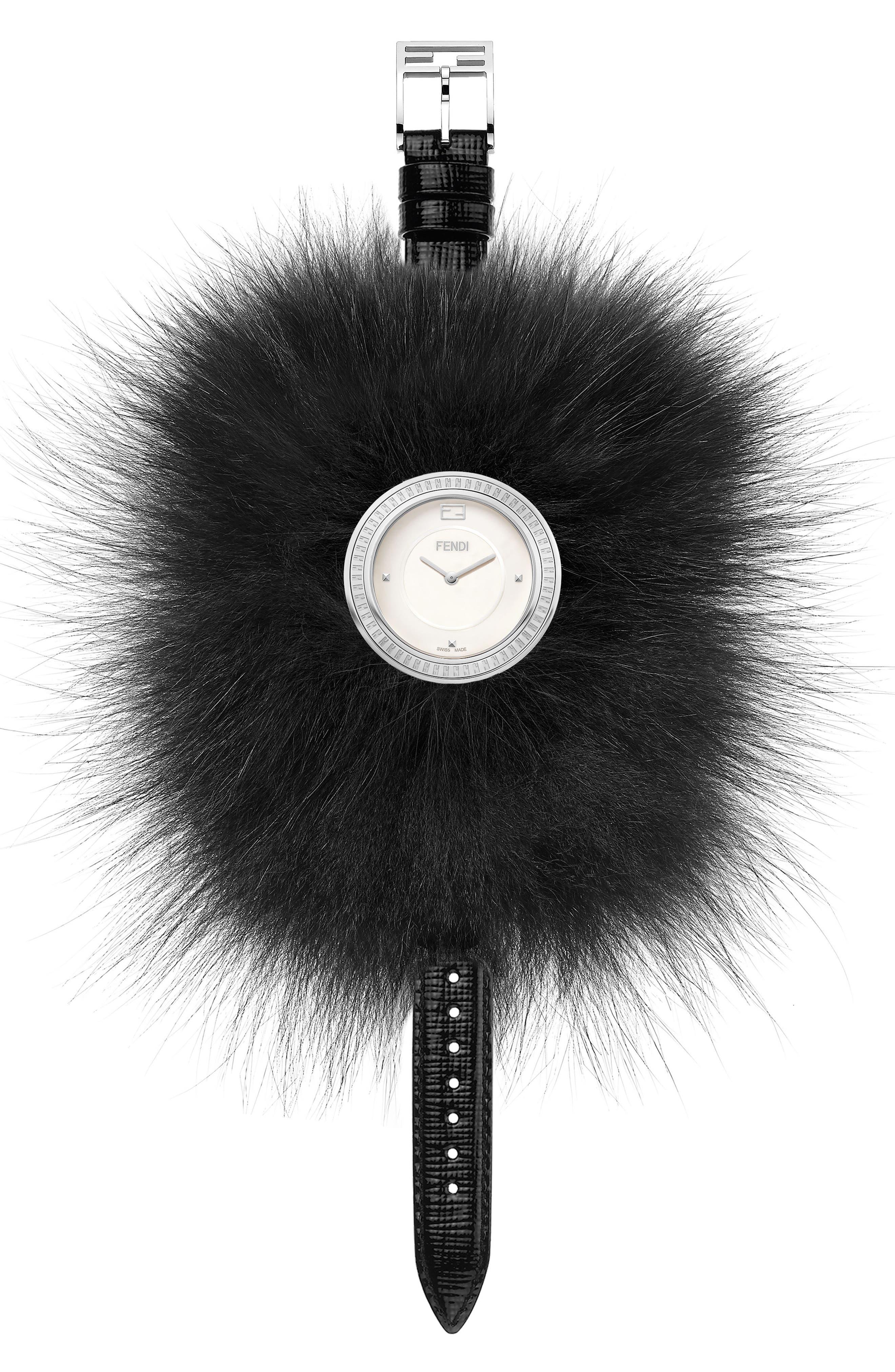 Main Image - Fendi My Way Genuine Fox Fur Leather Strap Watch, 36mm