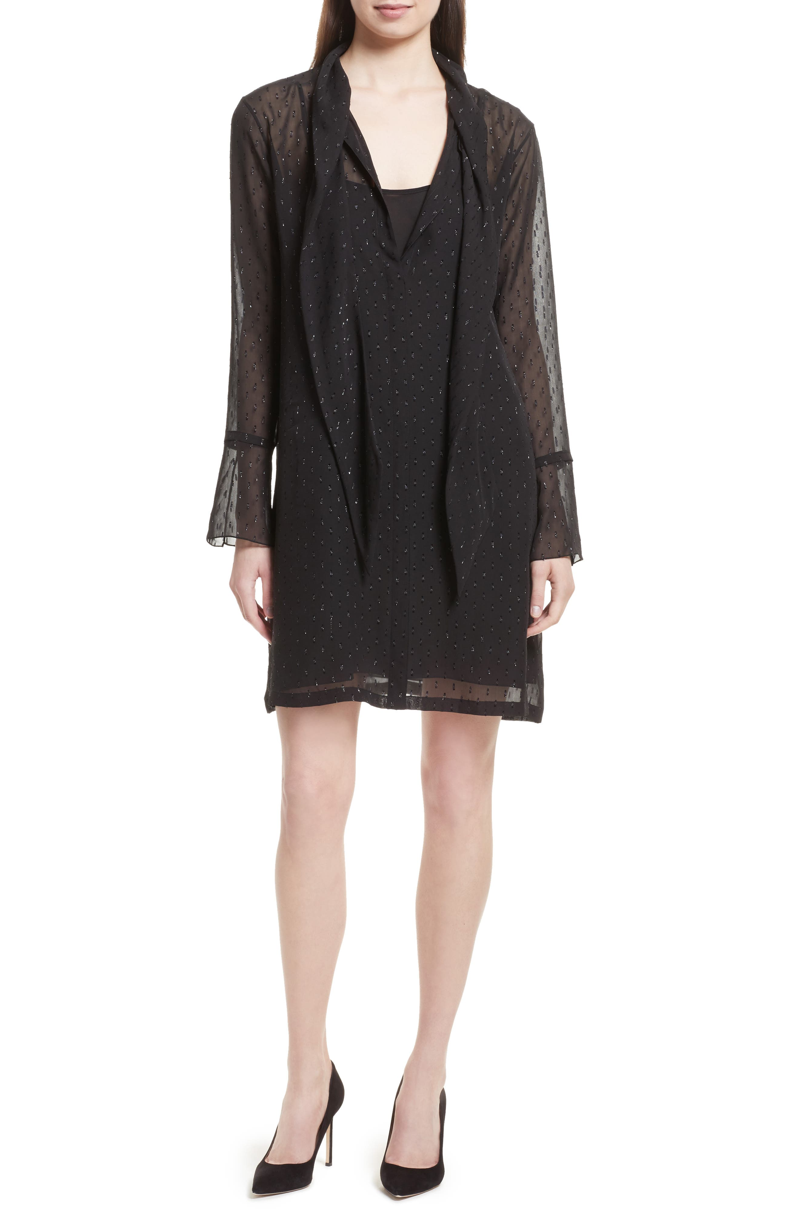 Theory Metallic Silk Scarf Dress