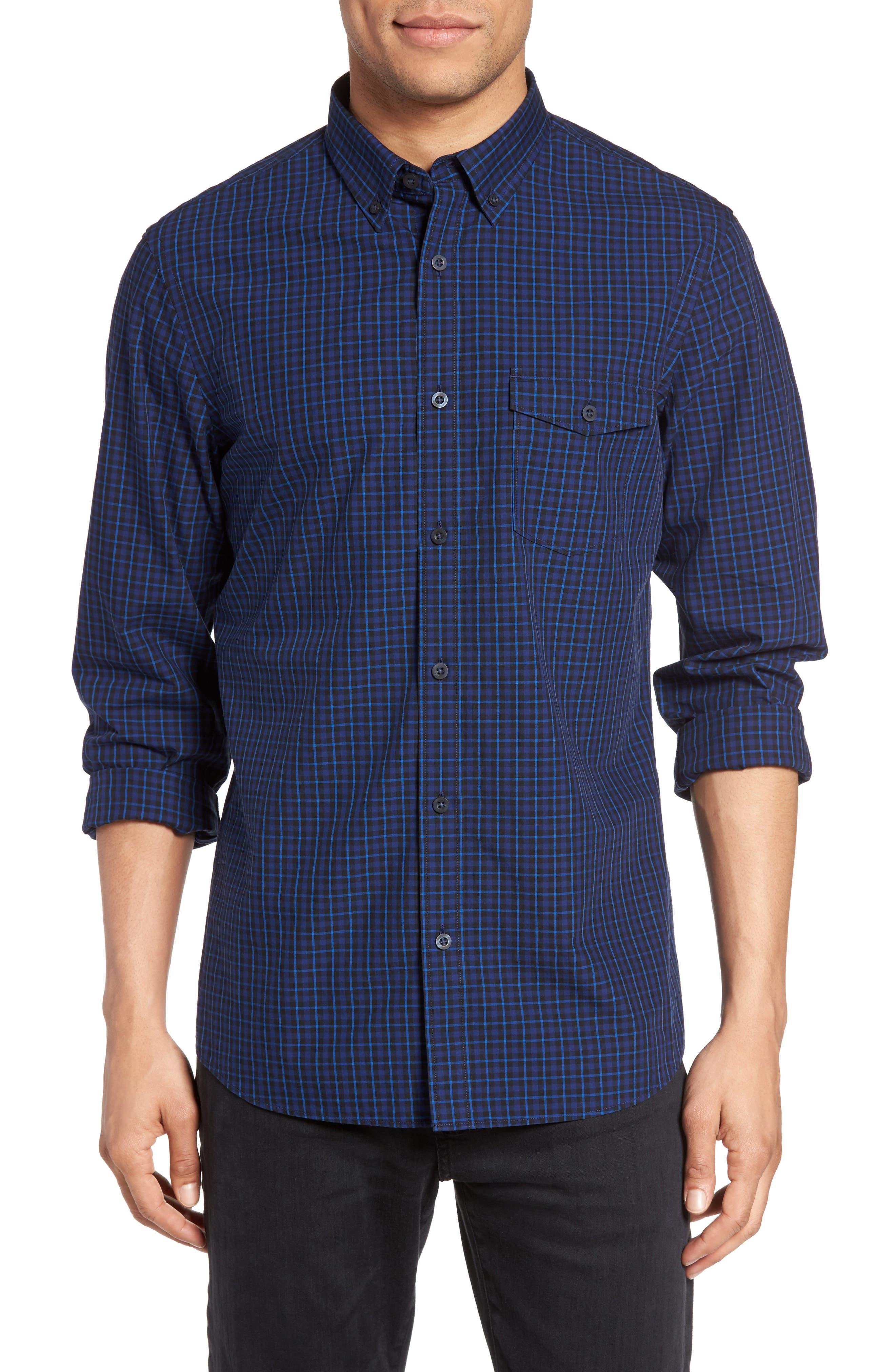 Slim Fit Plaid Sport Shirt,                         Main,                         color, Blue Estate Navy Grid