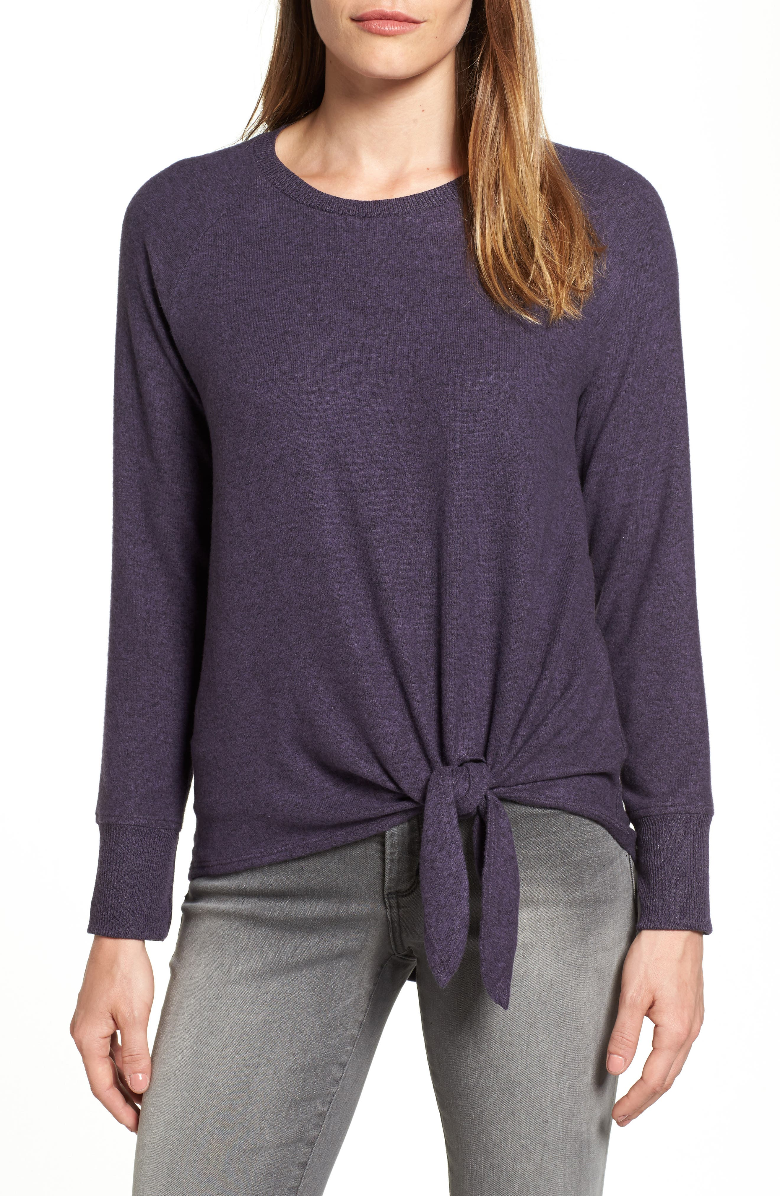 Gibson Tie Front Cozy Fleece Pullover (Regular & Petite)