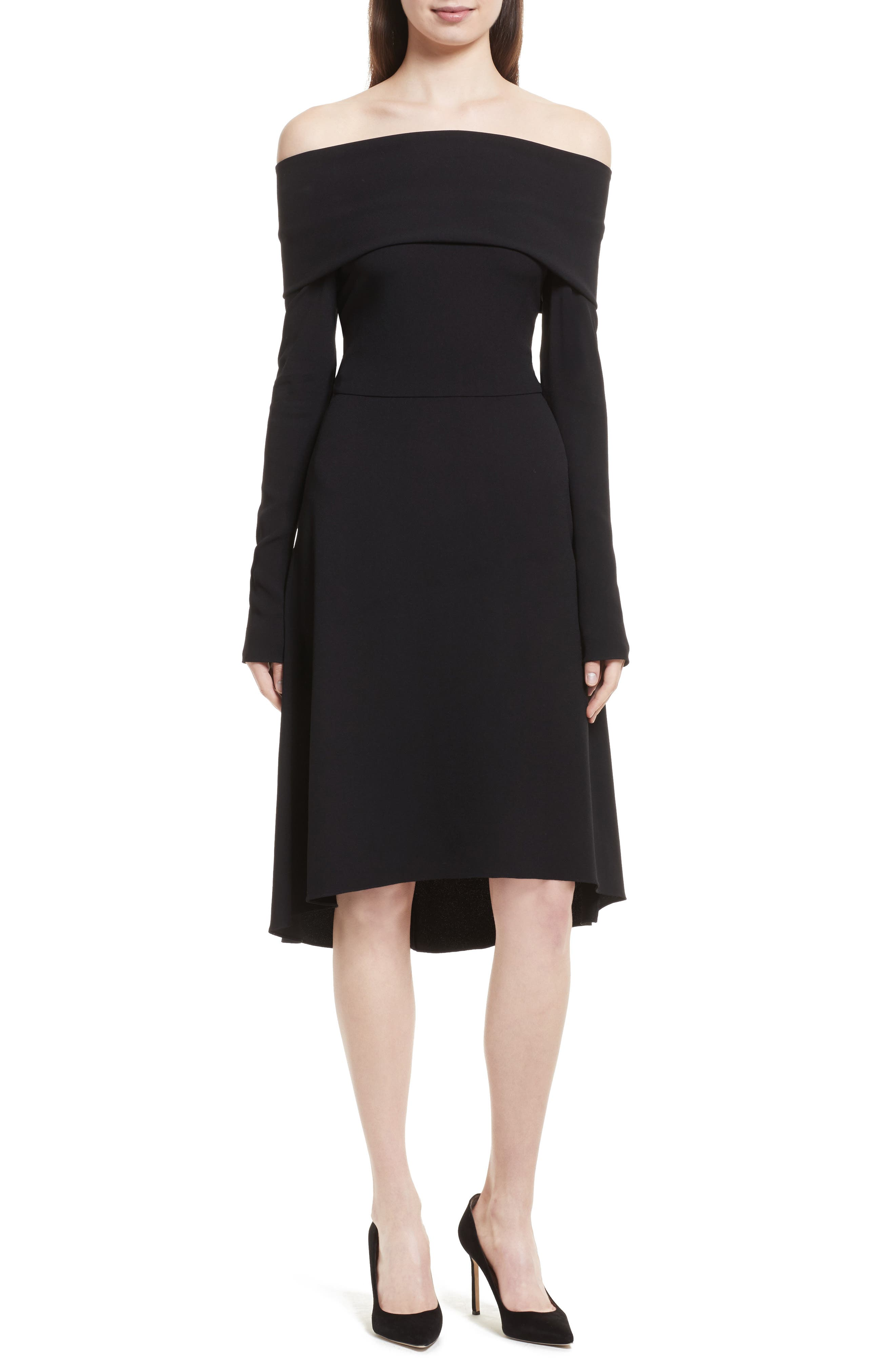 Theory Kensington Off the Shoulder Foldover Dress