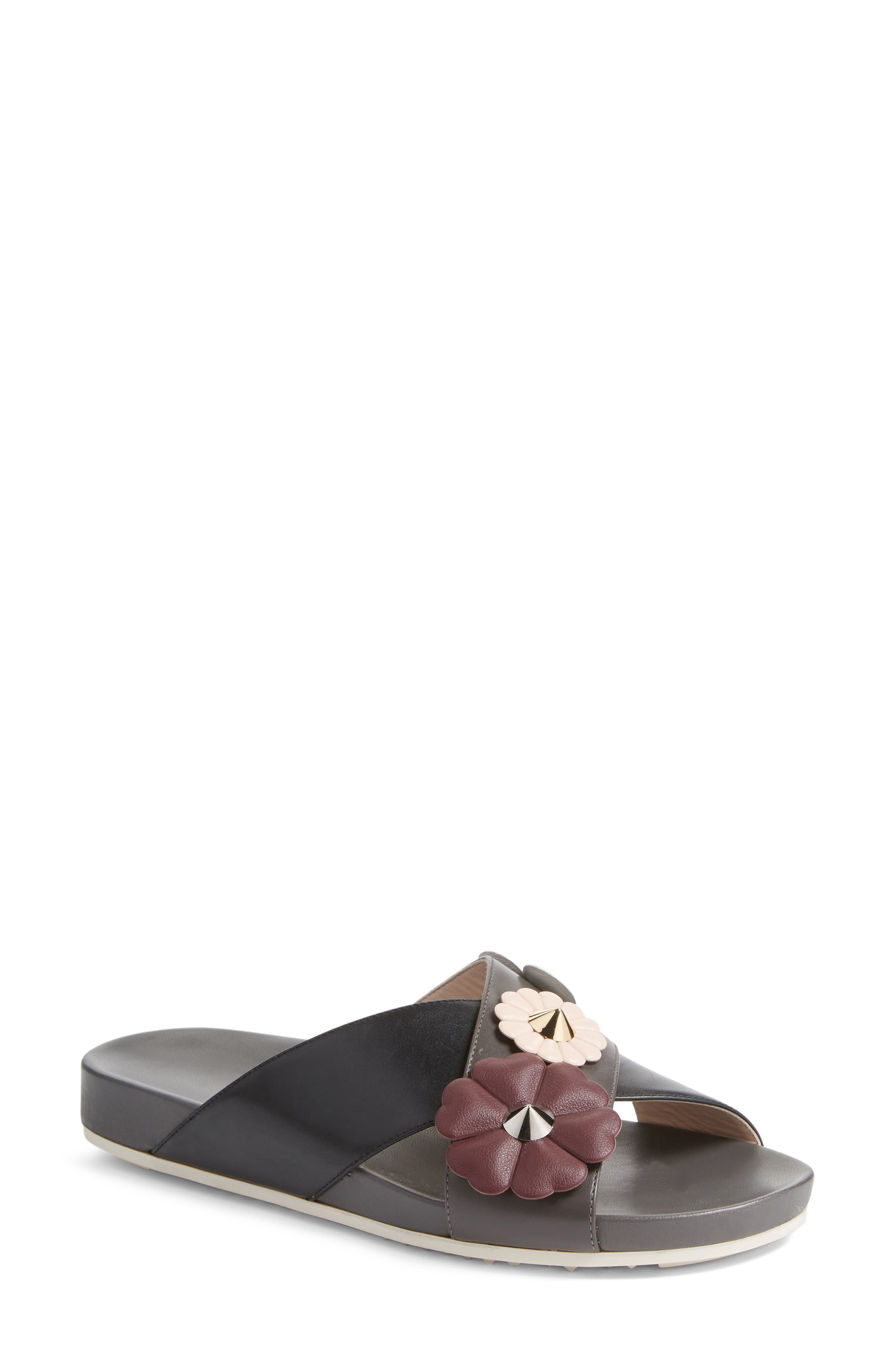 Flowerland Slide Sandal,                             Main thumbnail 1, color,                             Black/ Purple
