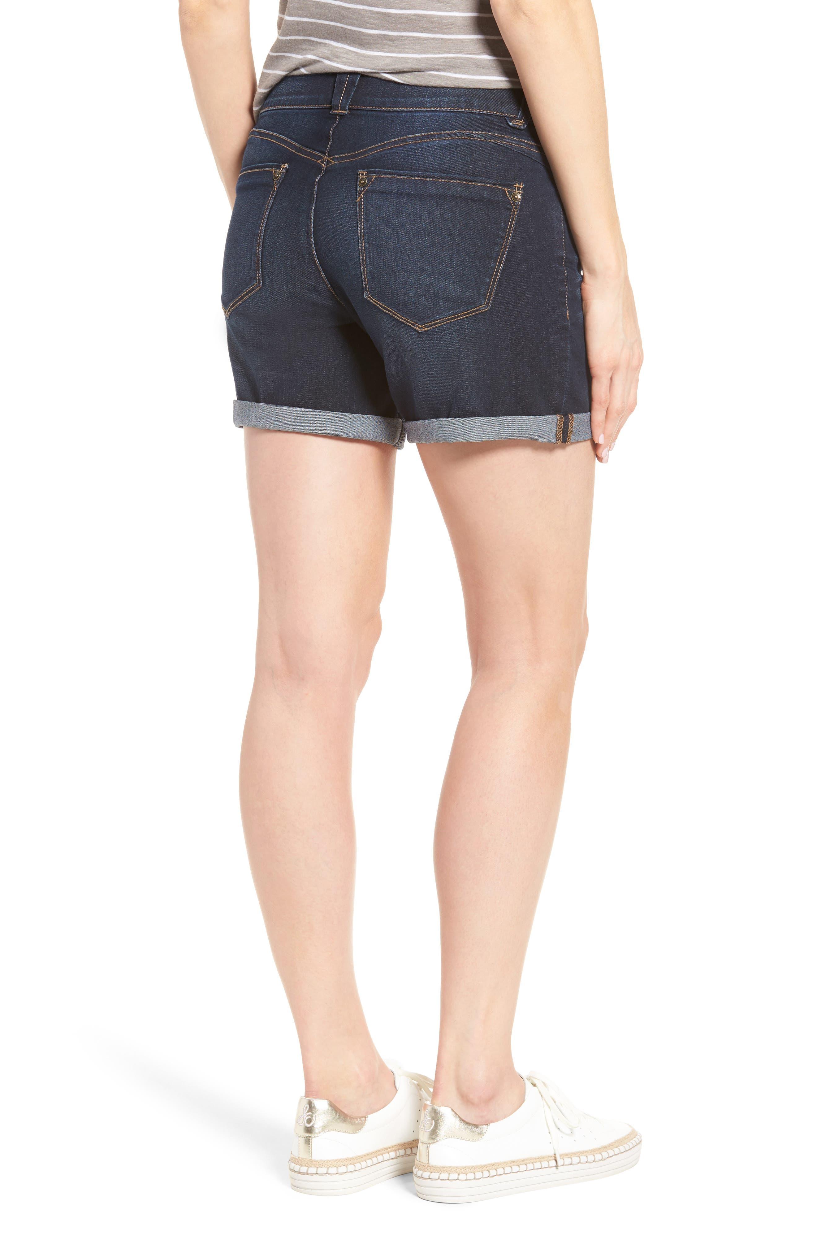 Ab-solution Cuffed Denim Shorts,                             Alternate thumbnail 2, color,                             Indigo