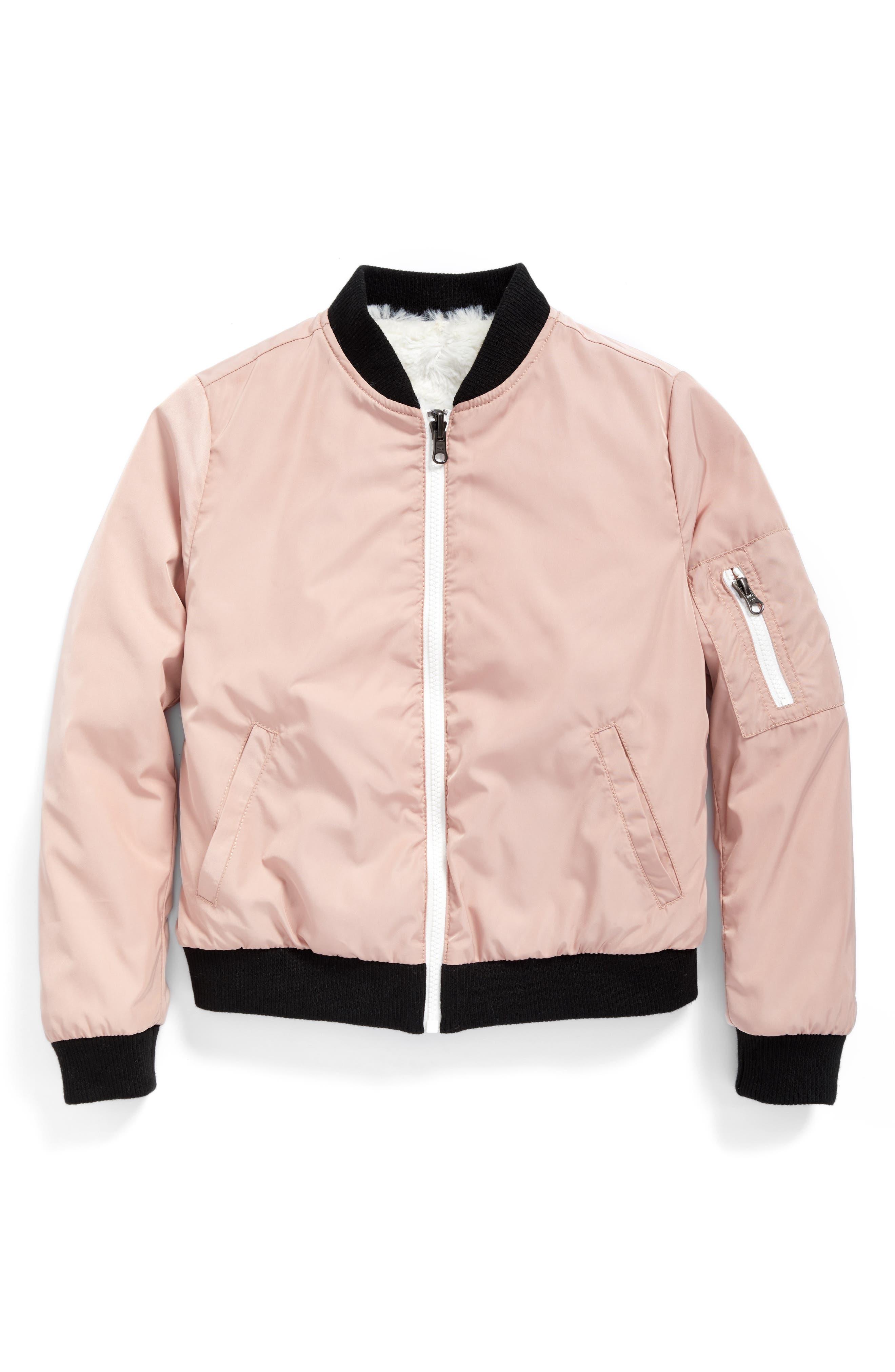 Reversible Faux Fur Bomber Jacket,                         Main,                         color, Pink Zephyr