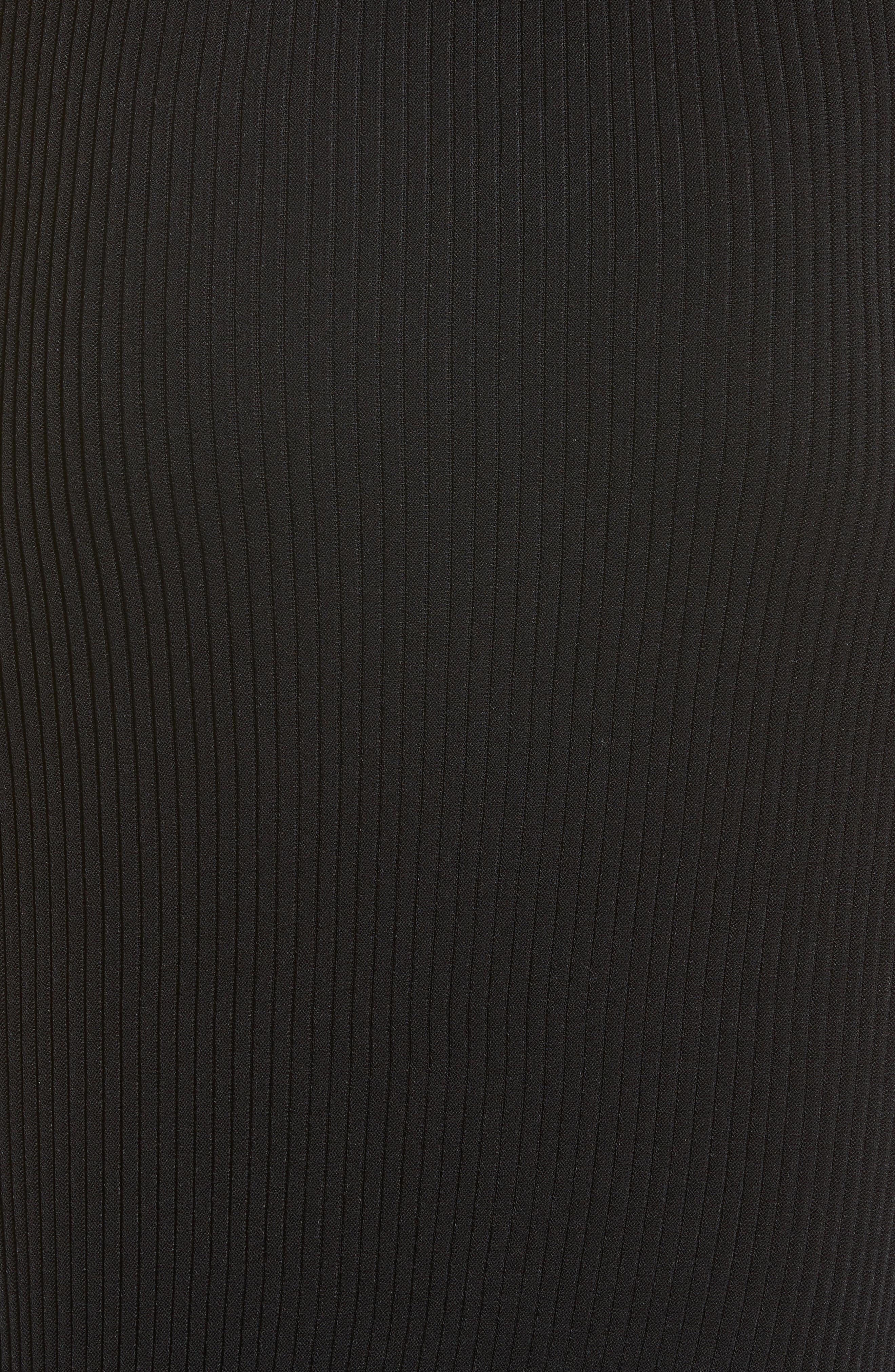 Rib Knit Ruffle Hem Midi Skirt,                             Alternate thumbnail 3, color,                             Black