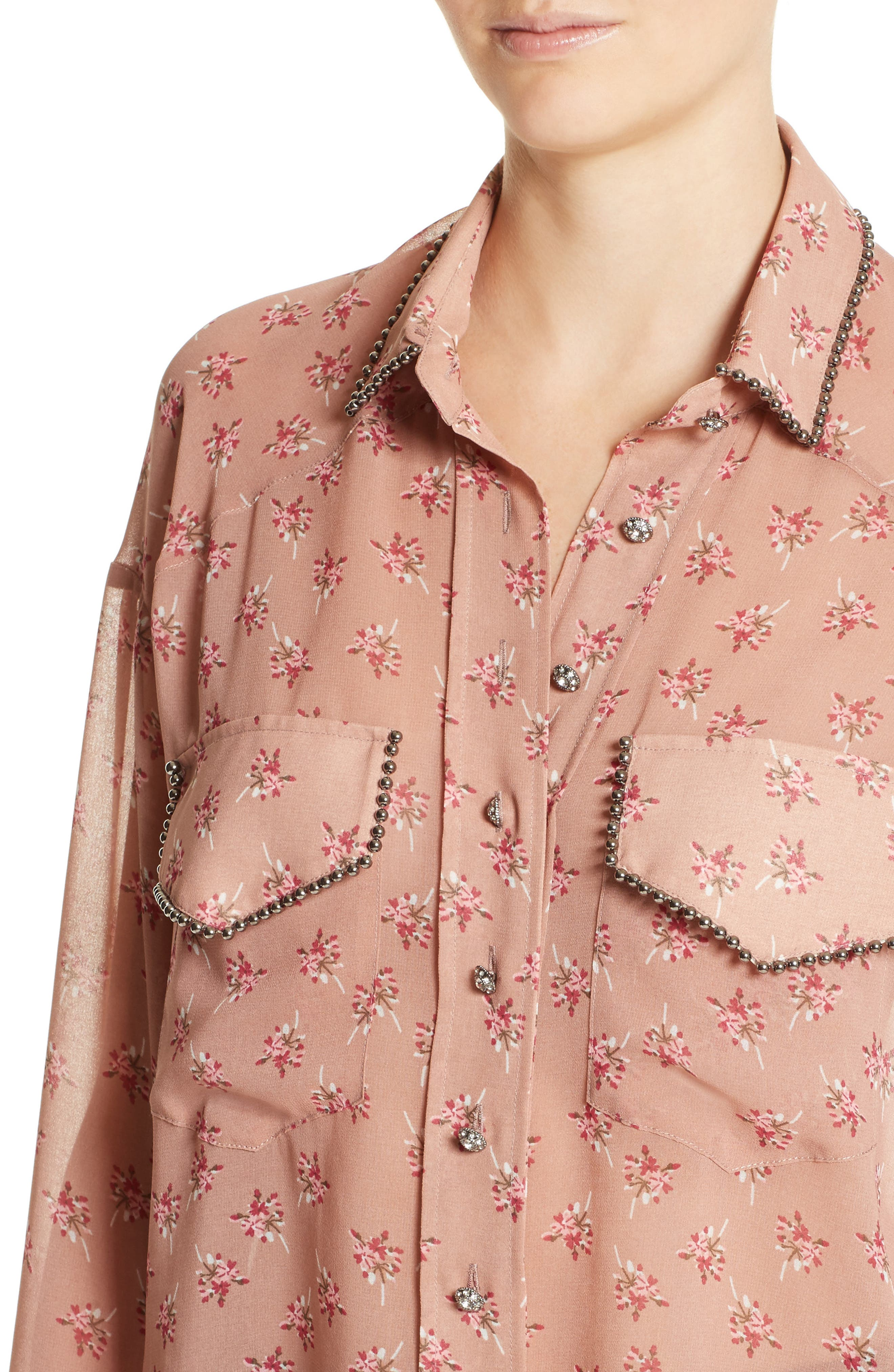 Alternate Image 4  - The Kooples Metal Detail Print Mousseline Shirt