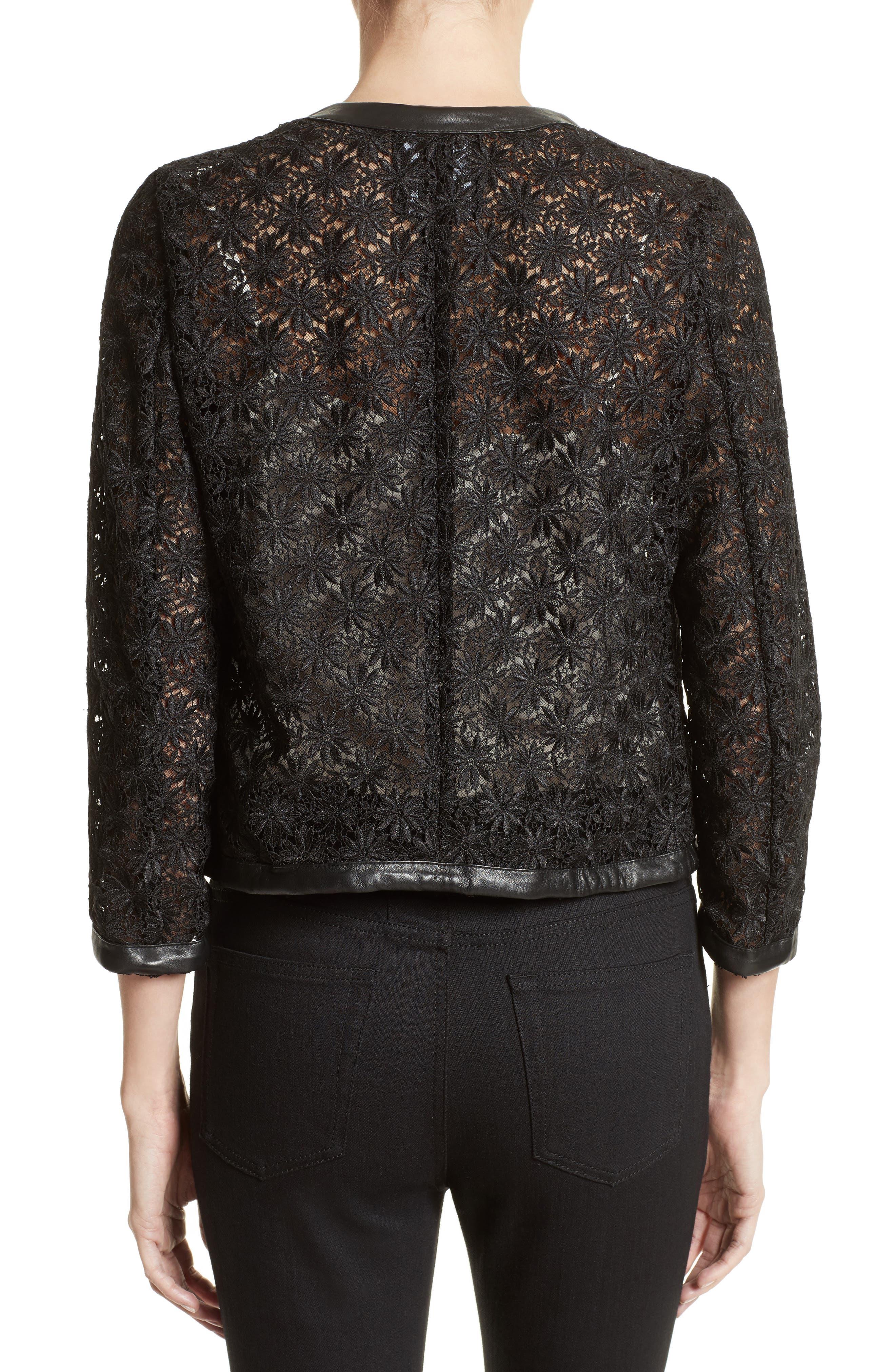 Alternate Image 2  - The Kooples Faux Leather Trim Lace Jacket