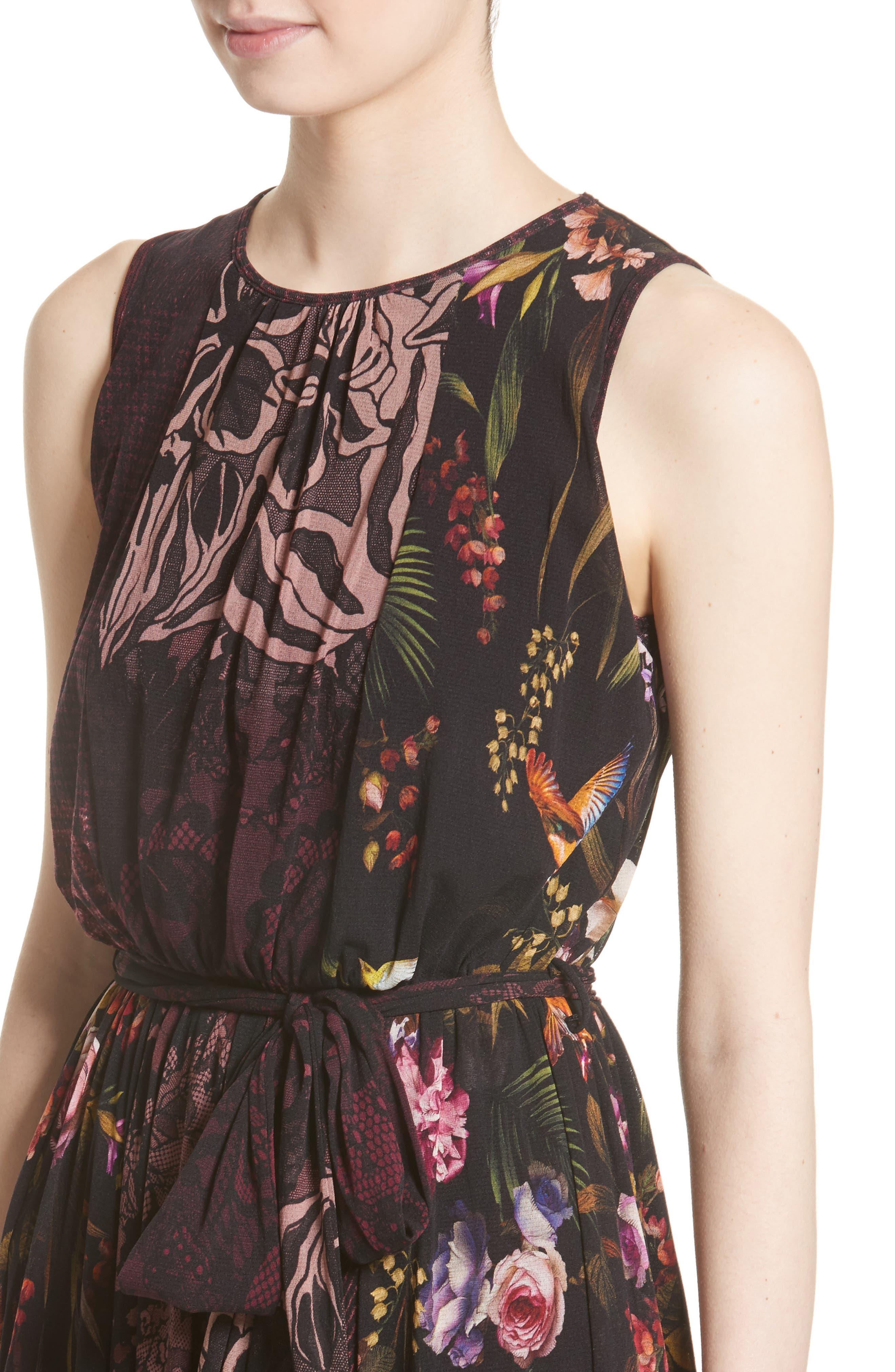 Belted Tulle Dress,                             Alternate thumbnail 7, color,                             Plum