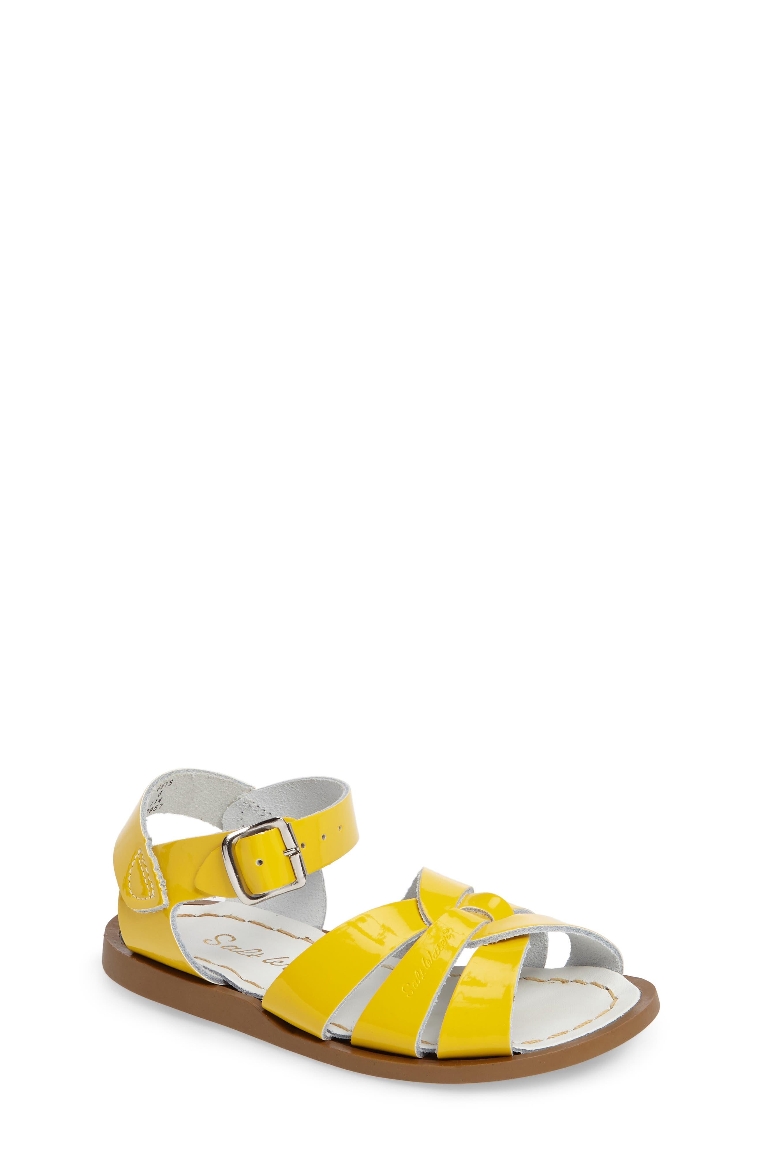 Salt water sandals girls 11 white strappy slide NEW made in USA