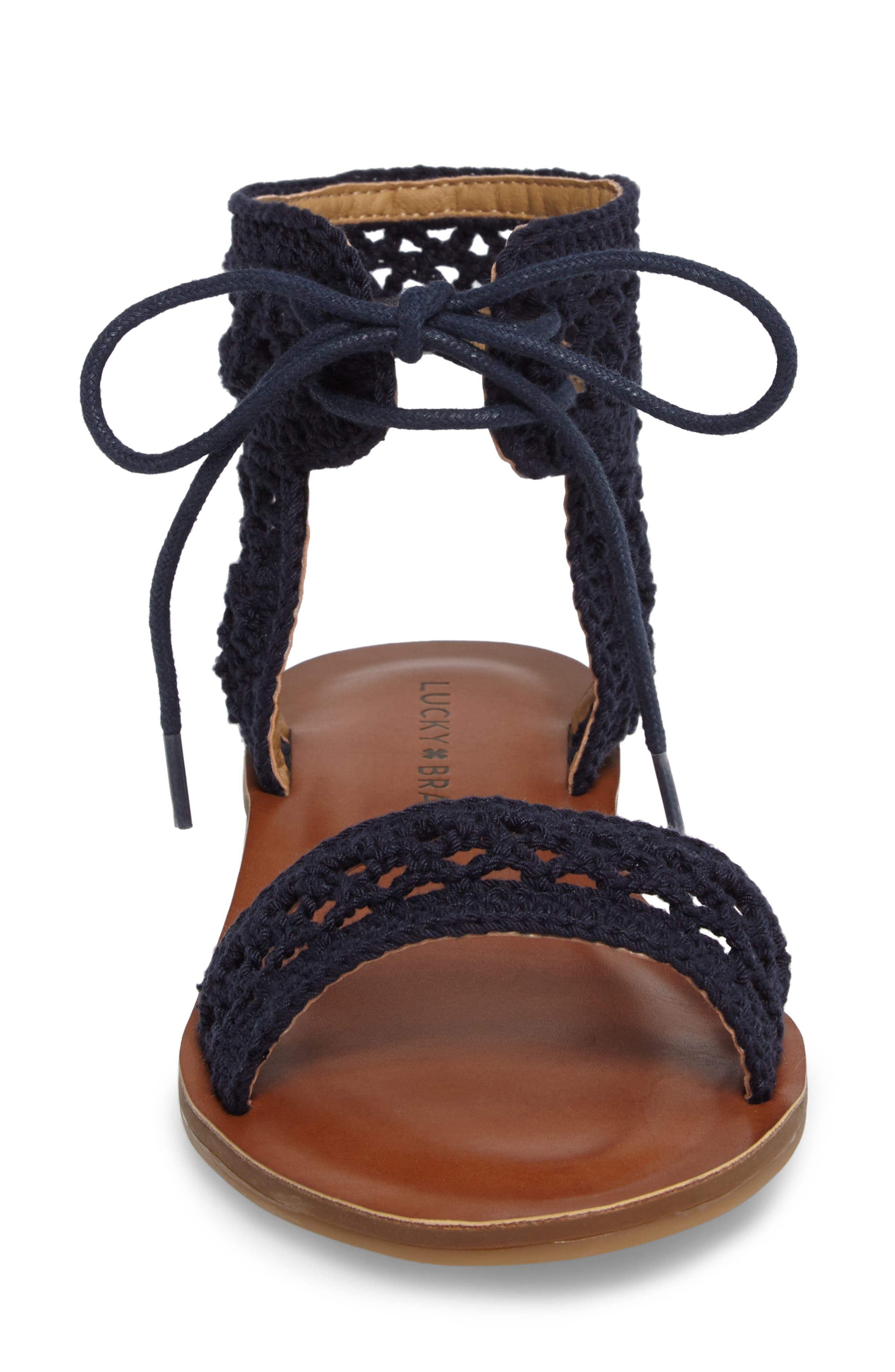 Ariah Ankle Tie Sandal,                             Alternate thumbnail 4, color,                             Moroccan Blue Fabric