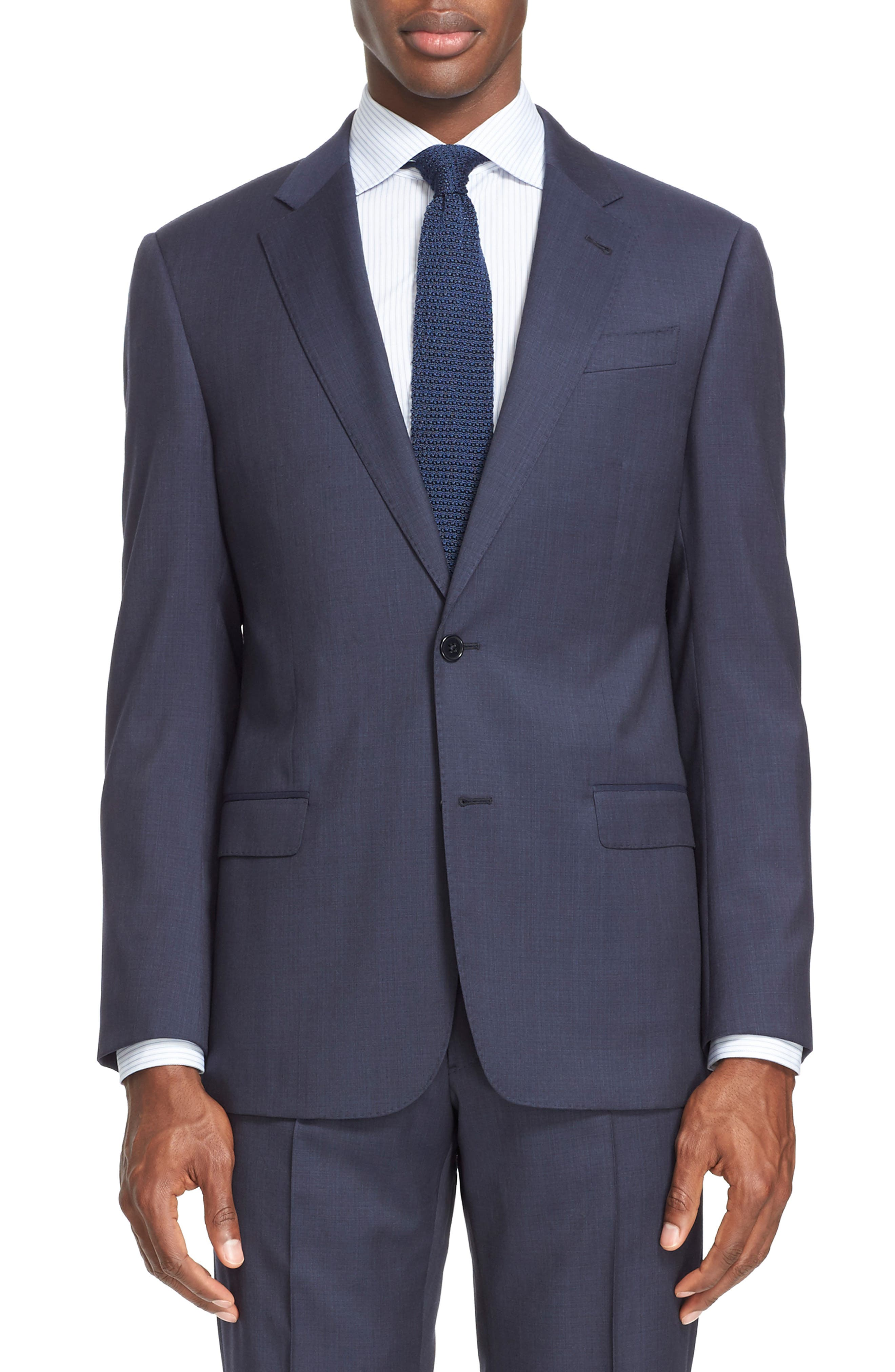 Trim Fit Solid Wool Suit,                             Alternate thumbnail 5, color,                             Navy