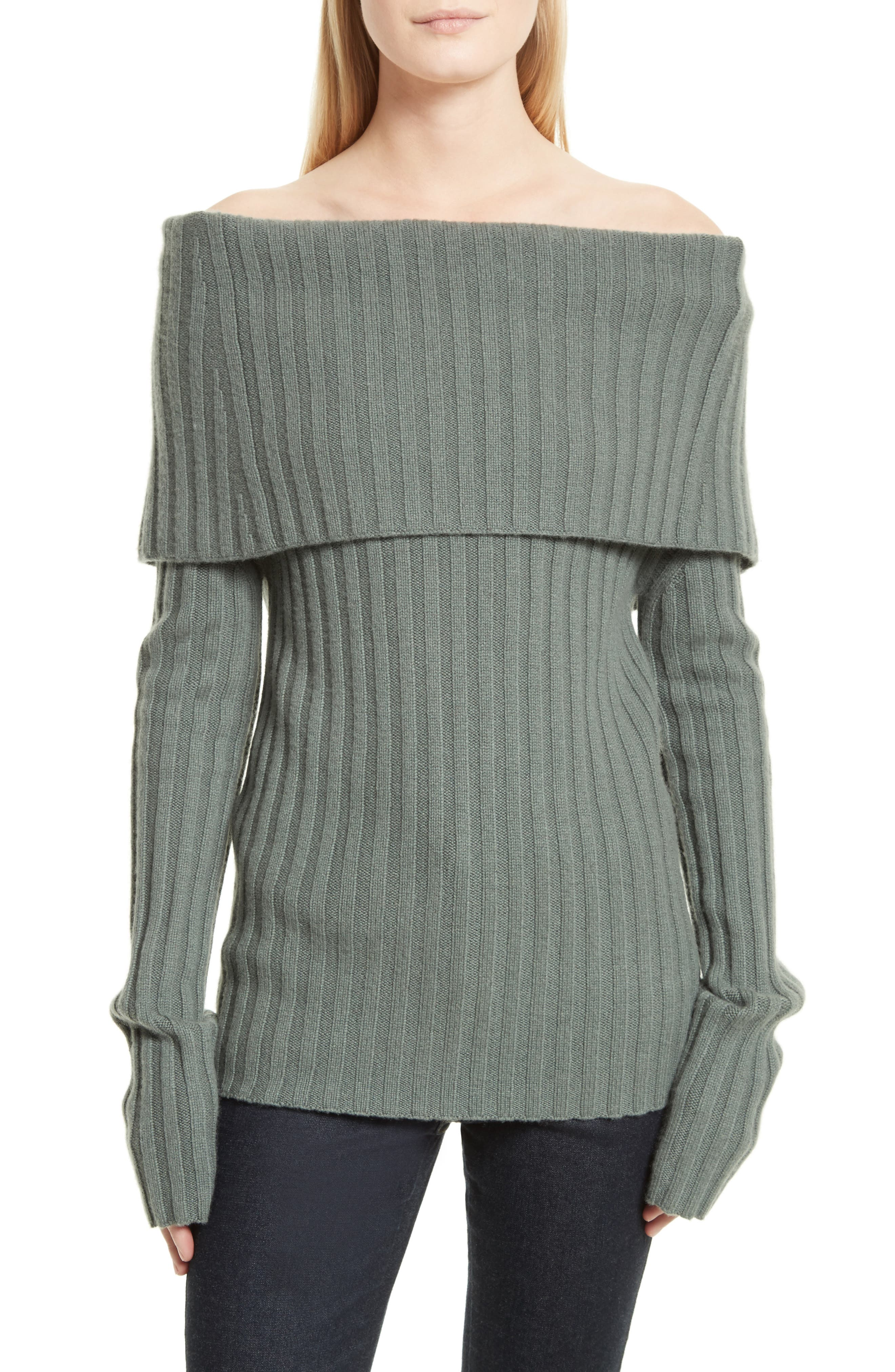 Off the Shoulder Cashmere Sweater,                         Main,                         color, Dark Winter Green