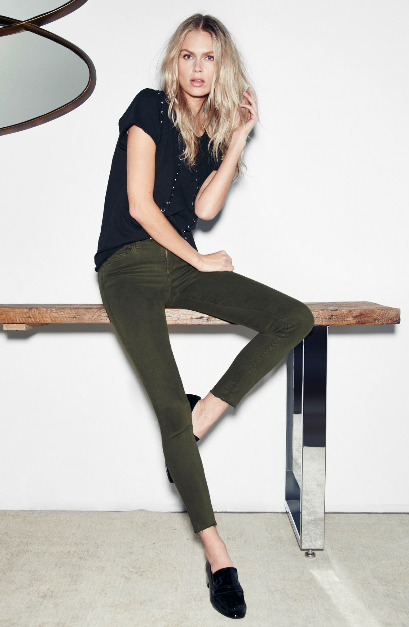 Icon Ankle Skinny Jeans,                             Alternate thumbnail 2, color,                             Military Green