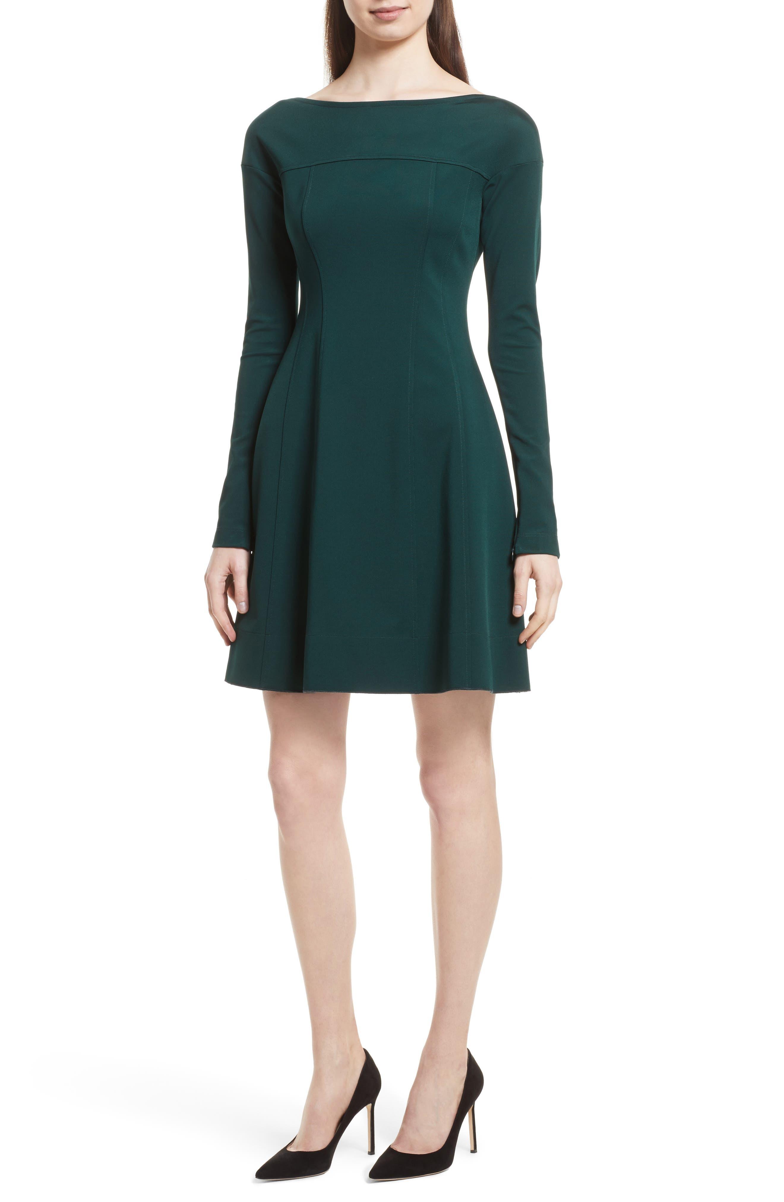 Valentina Scuba Knit A-Line Dress,                         Main,                         color, Dark Billiard