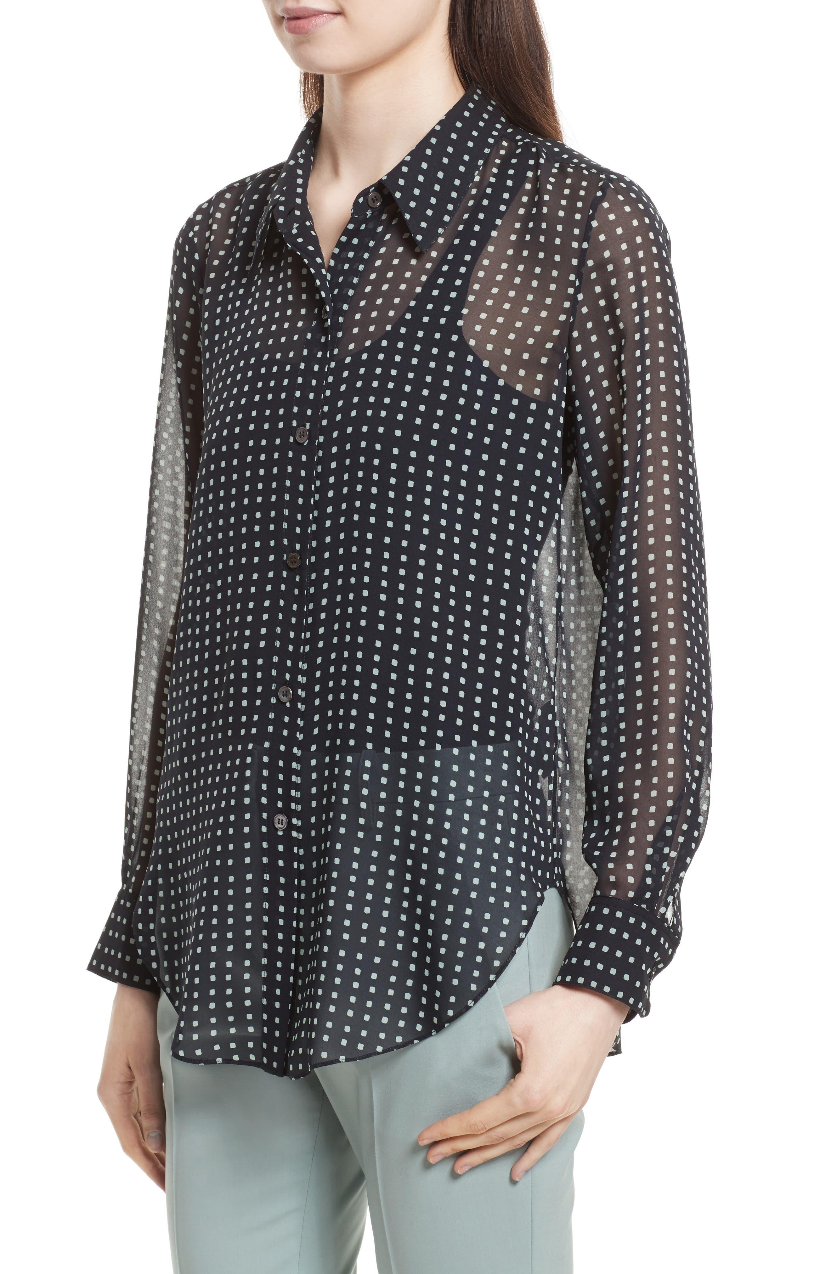 Sunaya Square Silk Chiffon Shirt,                             Alternate thumbnail 4, color,                             Deep Navy Multi