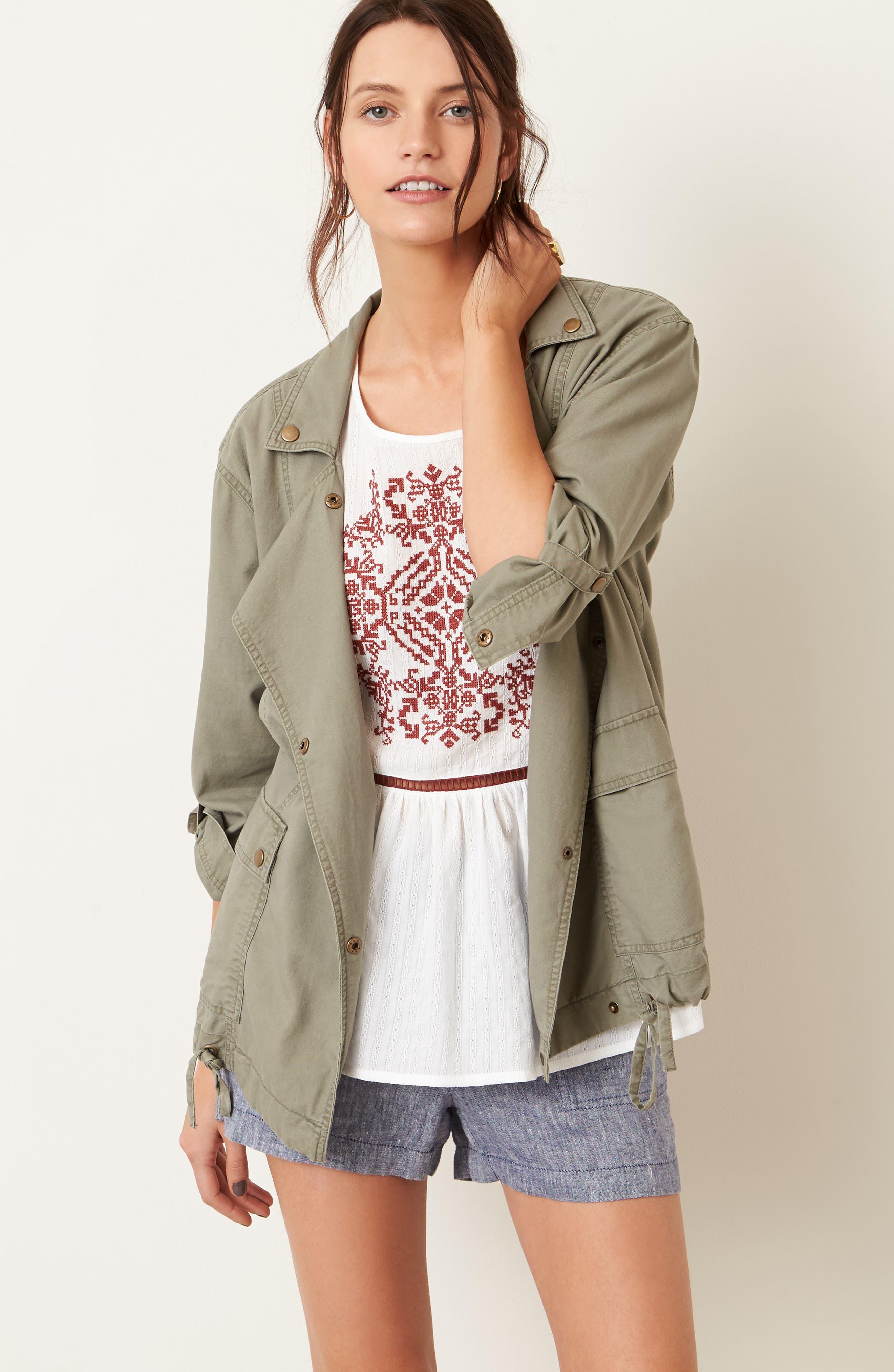 Alternate Image 2  - Caslon® Embroidered Cotton Top (Regular & Petite)