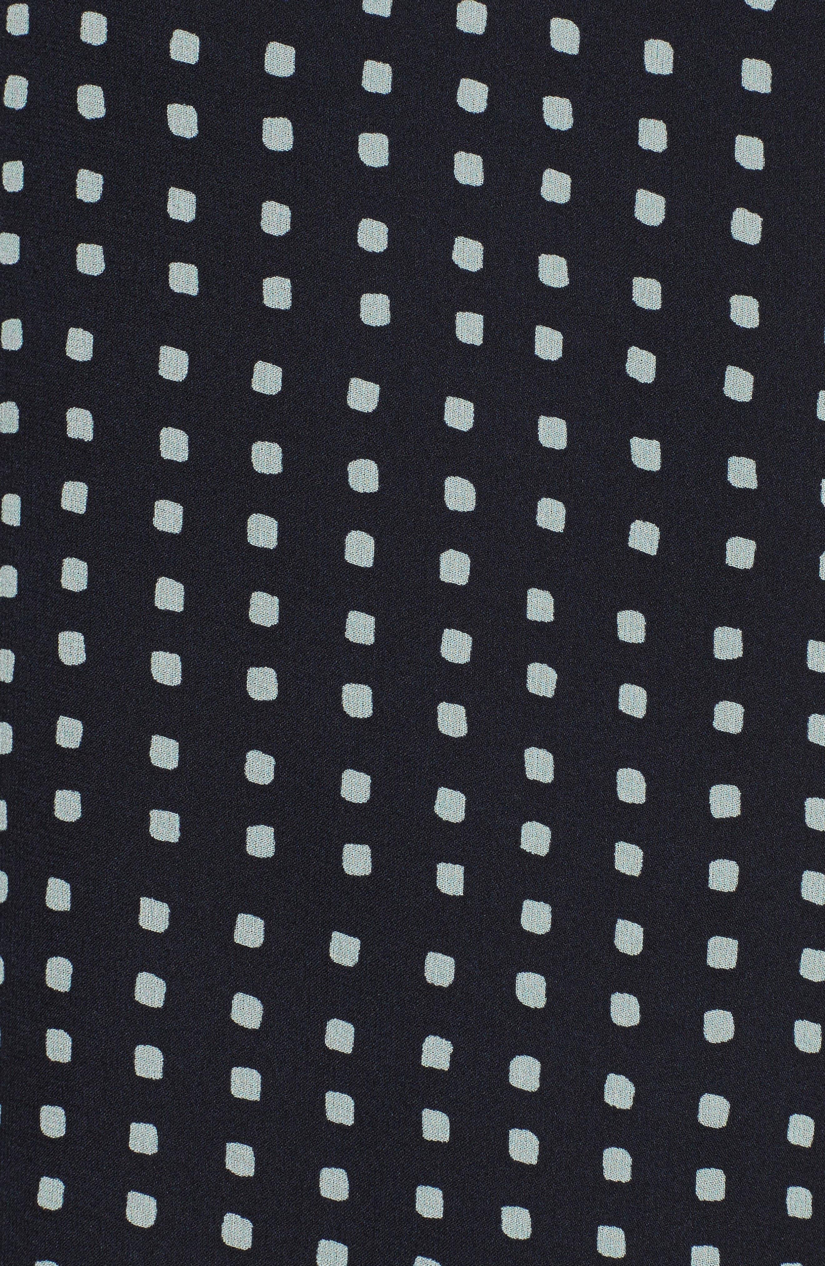 Sunaya Square Silk Chiffon Shirt,                             Alternate thumbnail 5, color,                             Deep Navy Multi