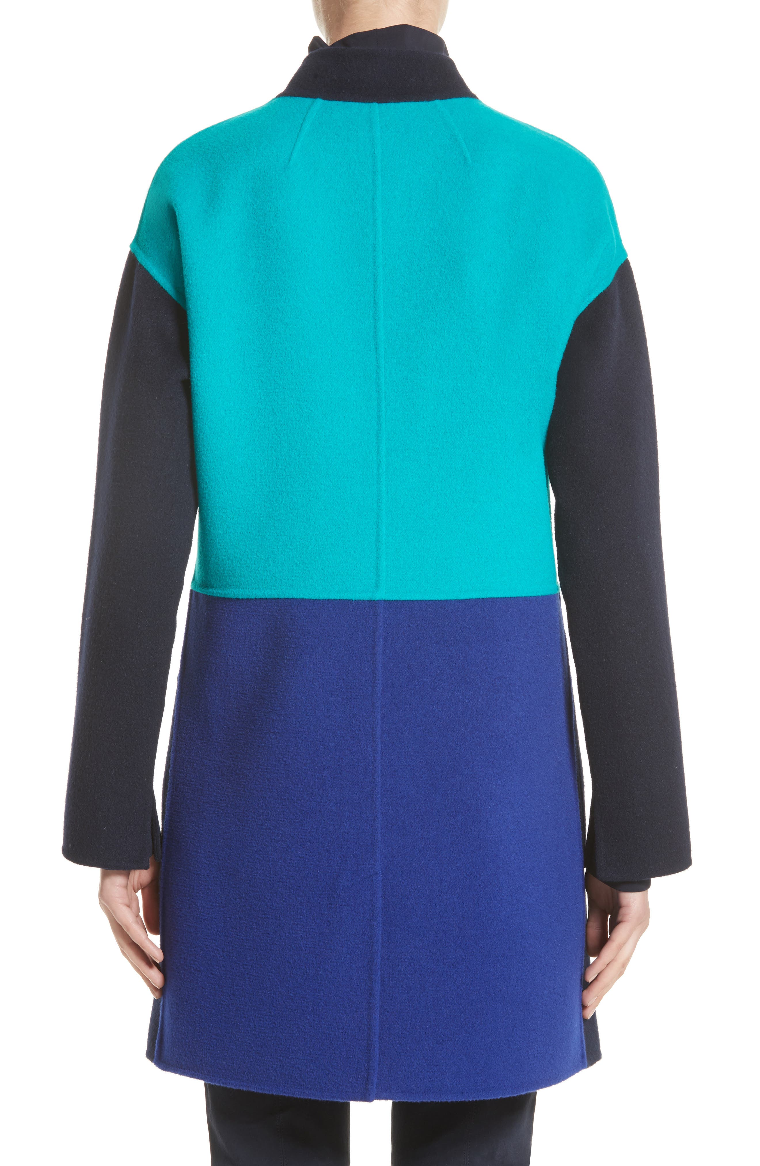 Alternate Image 2  - St. John Collection Colorblock Double Face Wool Blend Coat