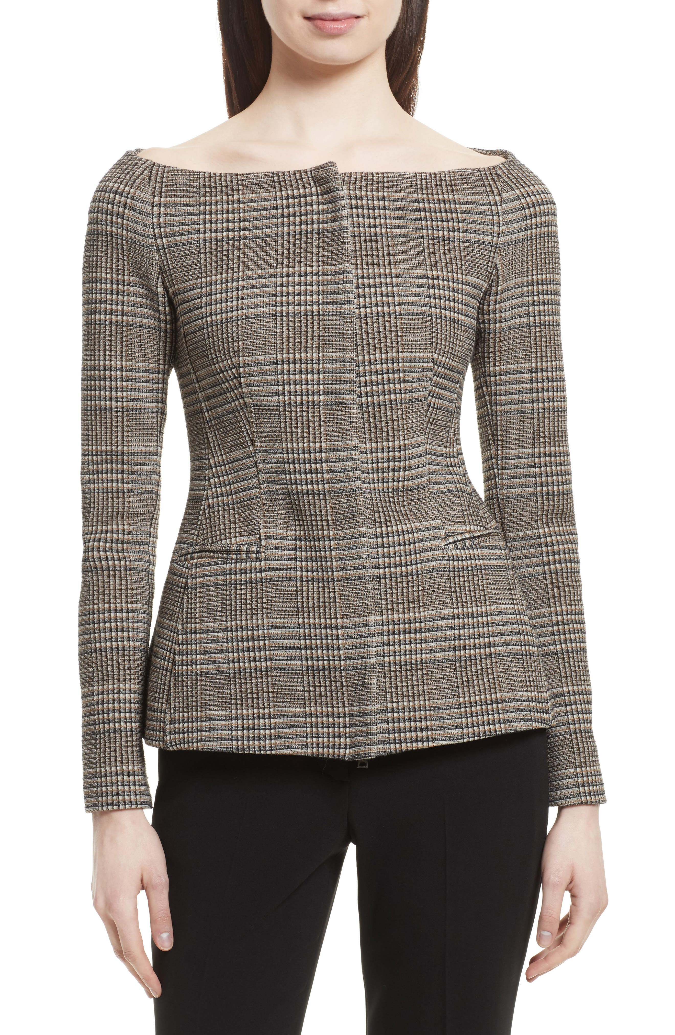 Hadfield Off the Shoulder Stretch Wool Jacket,                         Main,                         color, Graham Multi