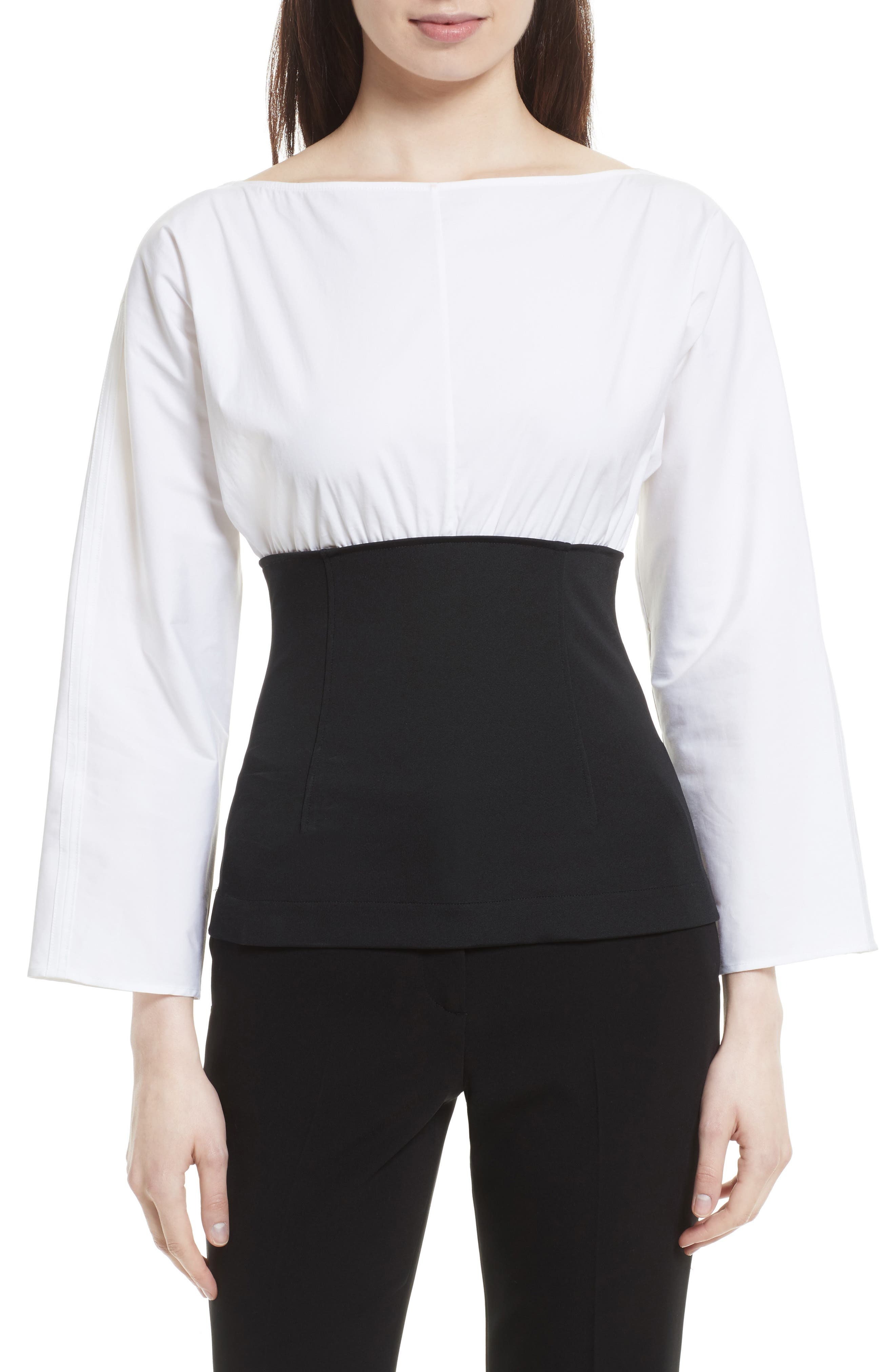 Theory Mixed Woven Corset Top