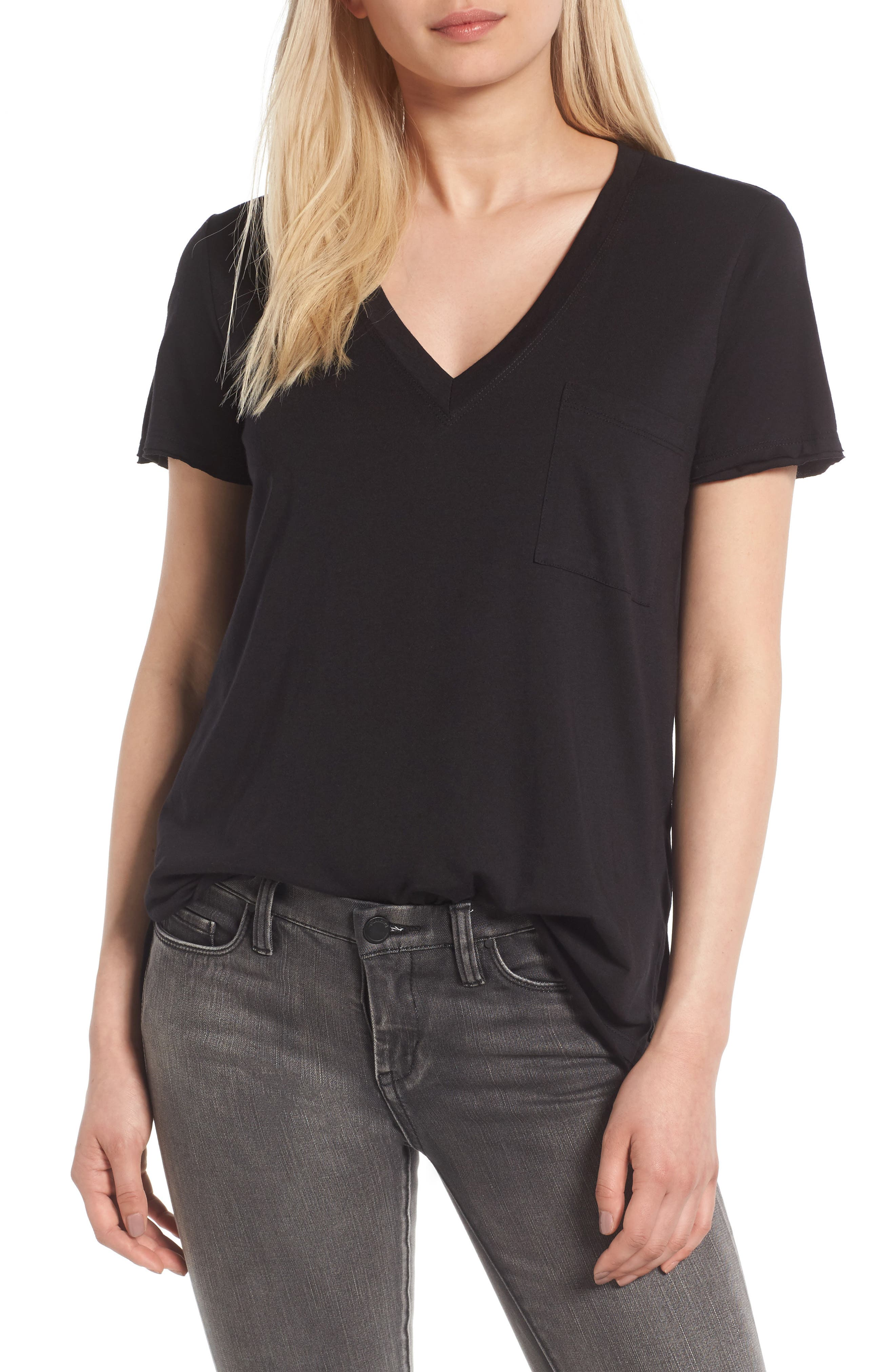 Raw Edge Side Slit Tee,                         Main,                         color, Black