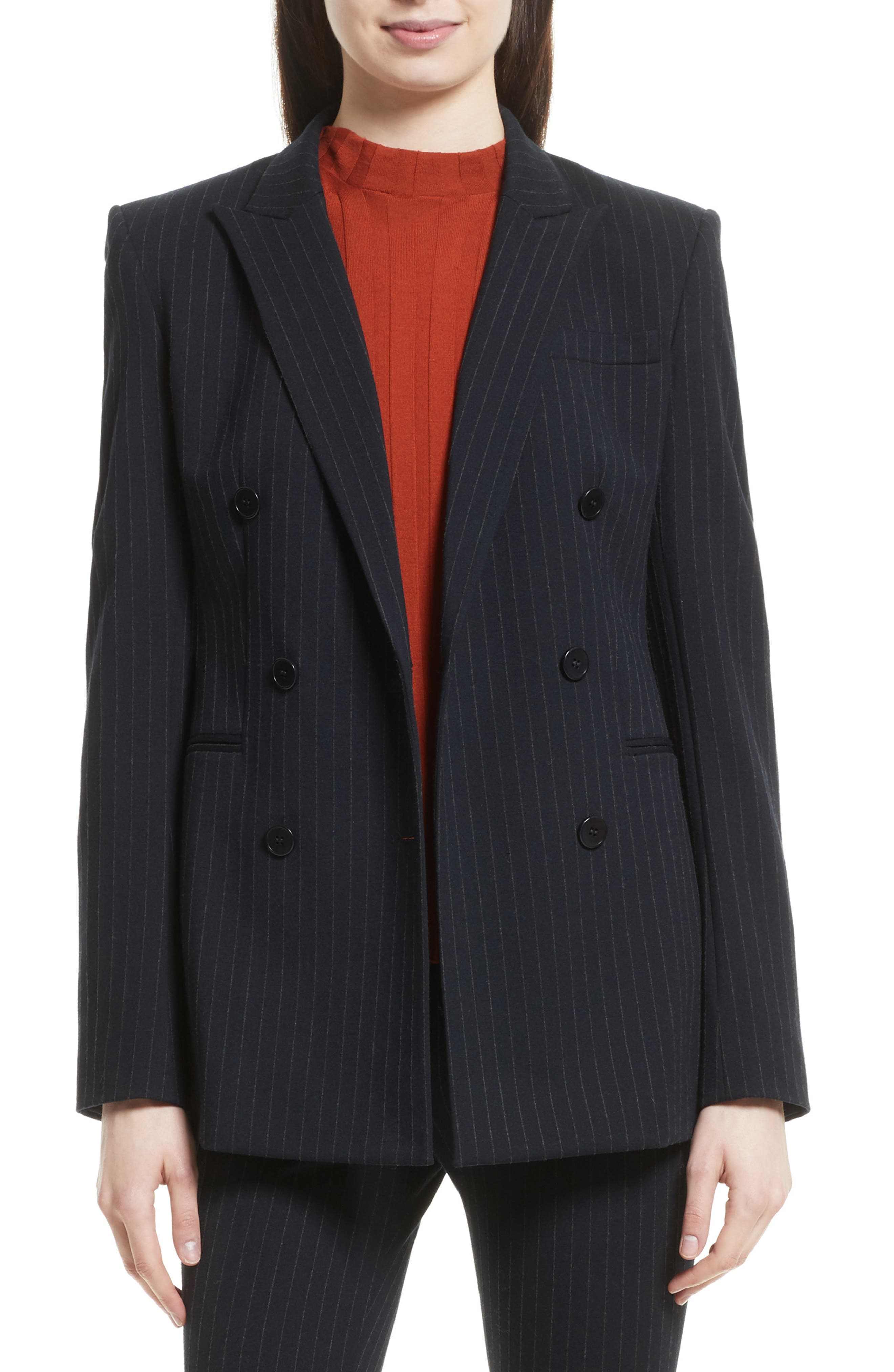 Pinstripe Power Blazer,                             Main thumbnail 1, color,                             Deep Navy