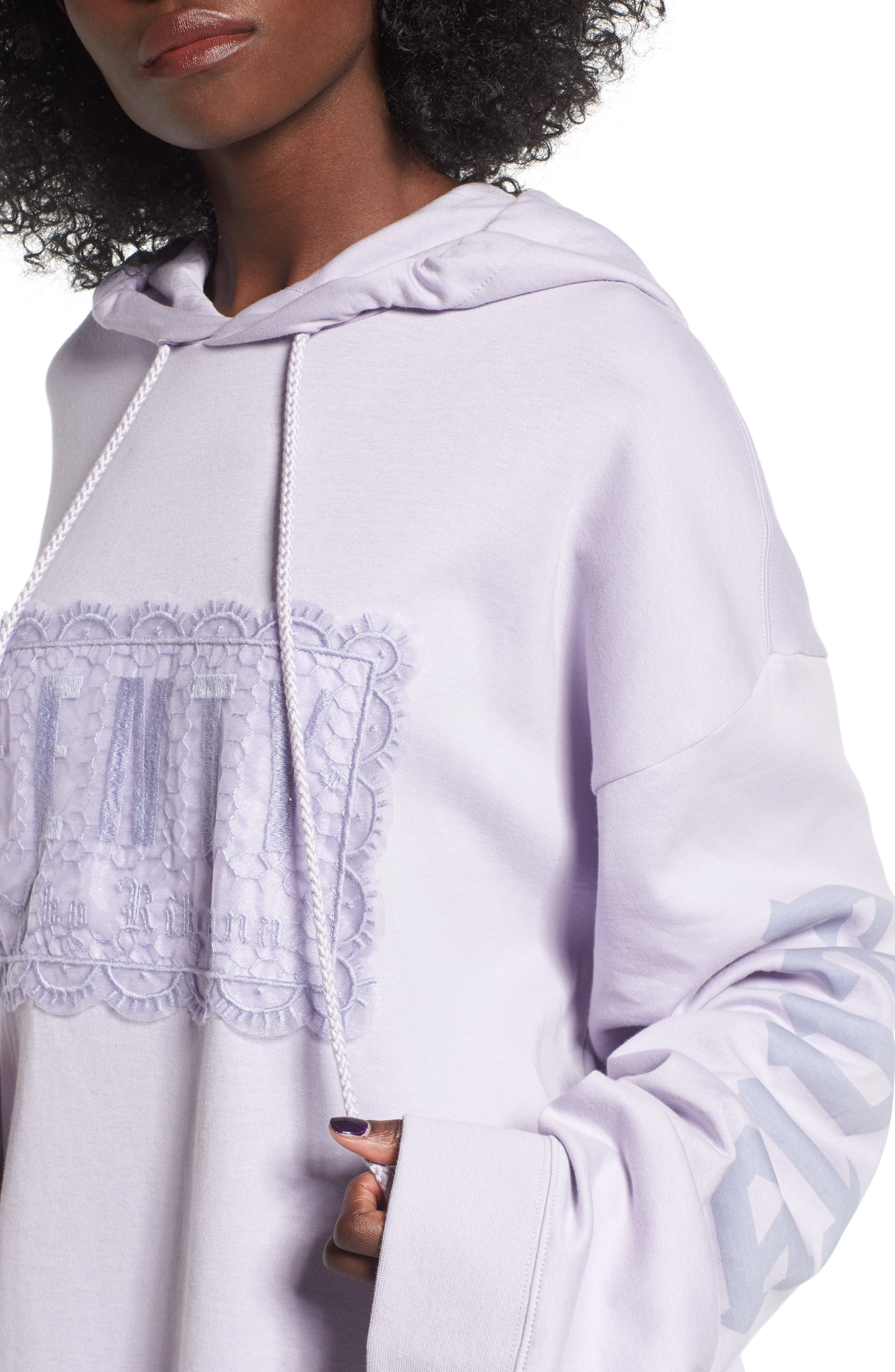 FENTY PUMA by Rihanna Lace Hoodie,                             Alternate thumbnail 4, color,                             Thistle