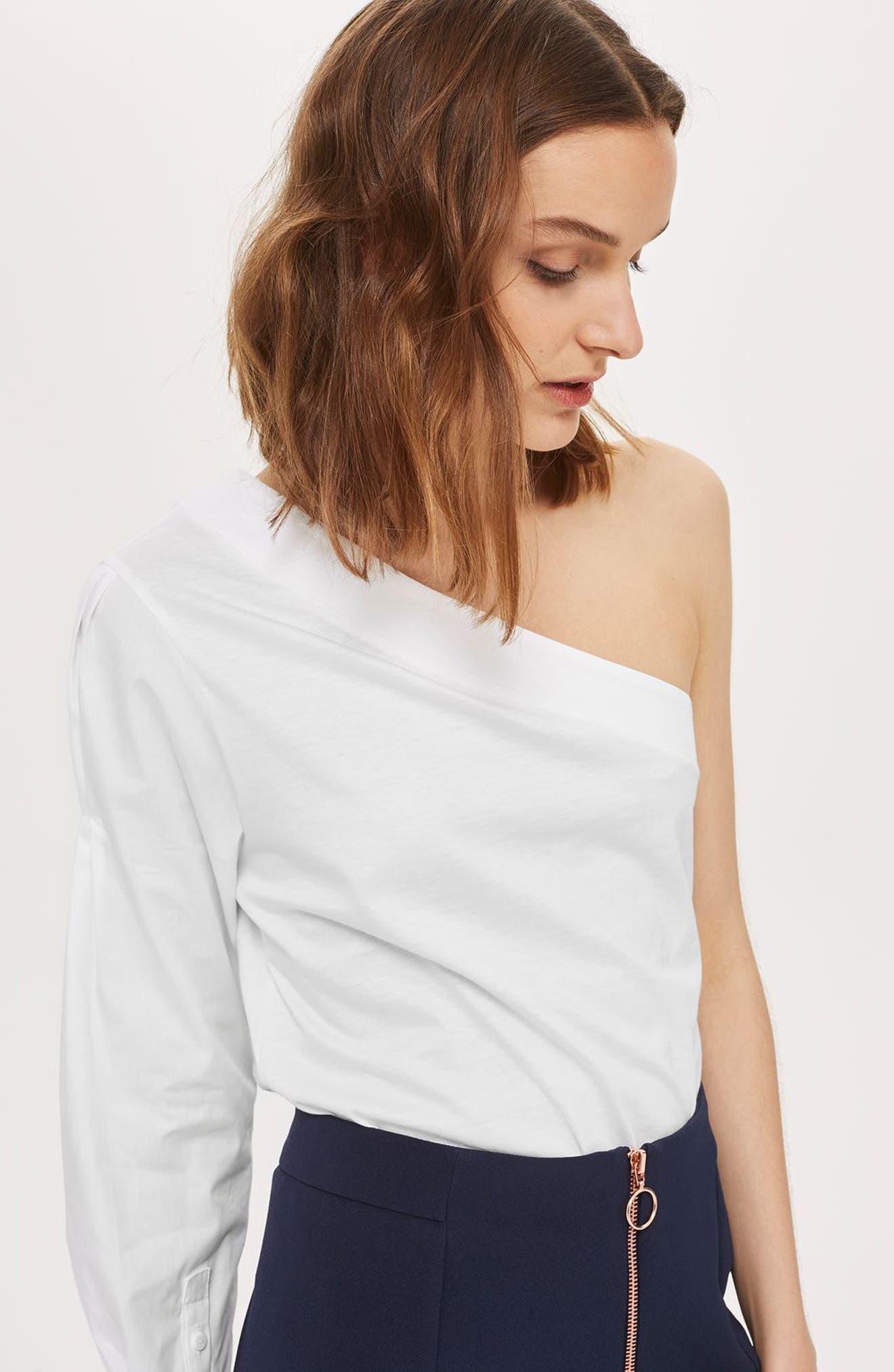 Alternate Image 2  - Topshop One-Shoulder Jersey Top