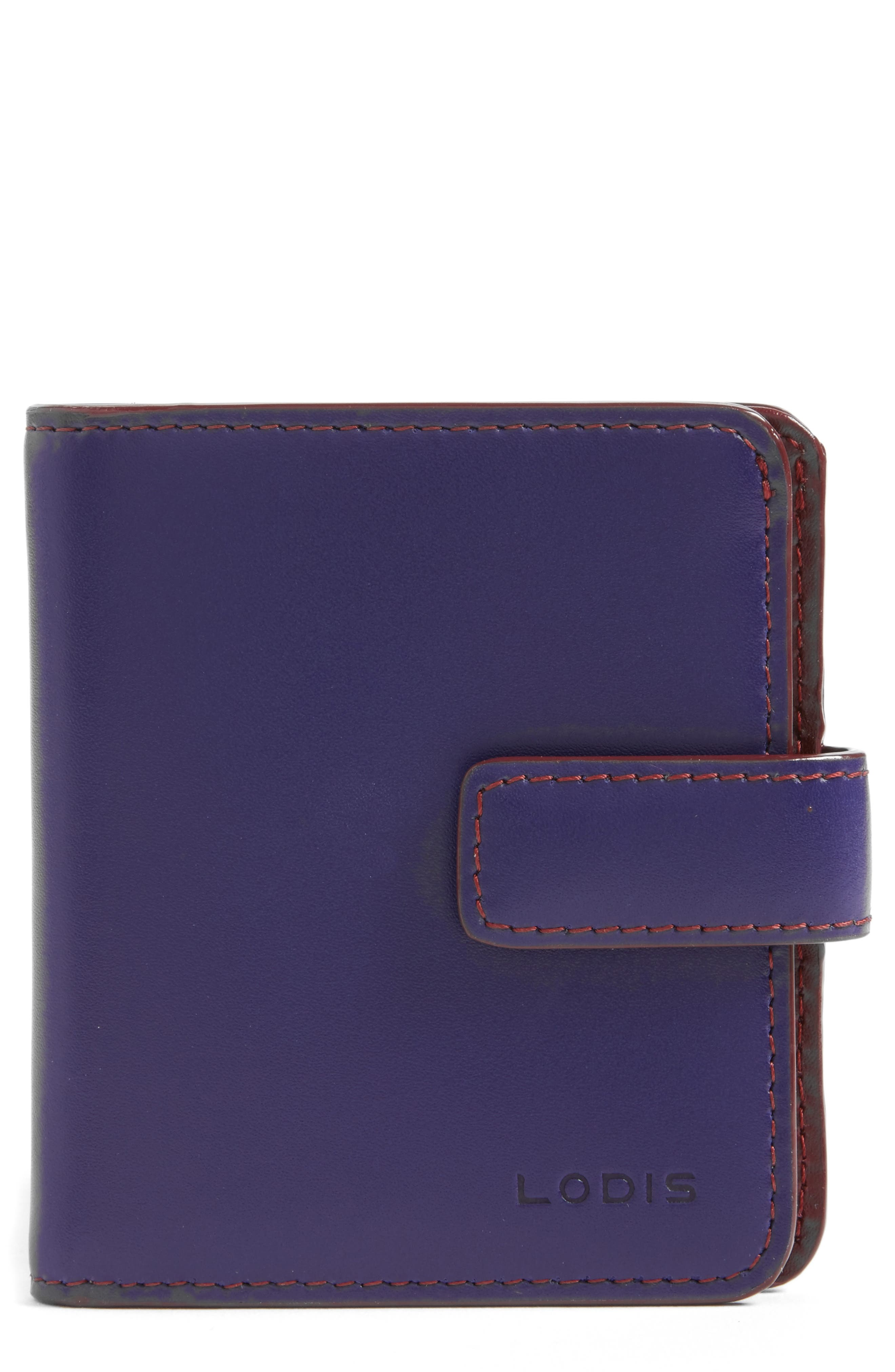 Lodis Petite Audrey RFID Leather Wallet,                         Main,                         color, Midnight/ Chianti