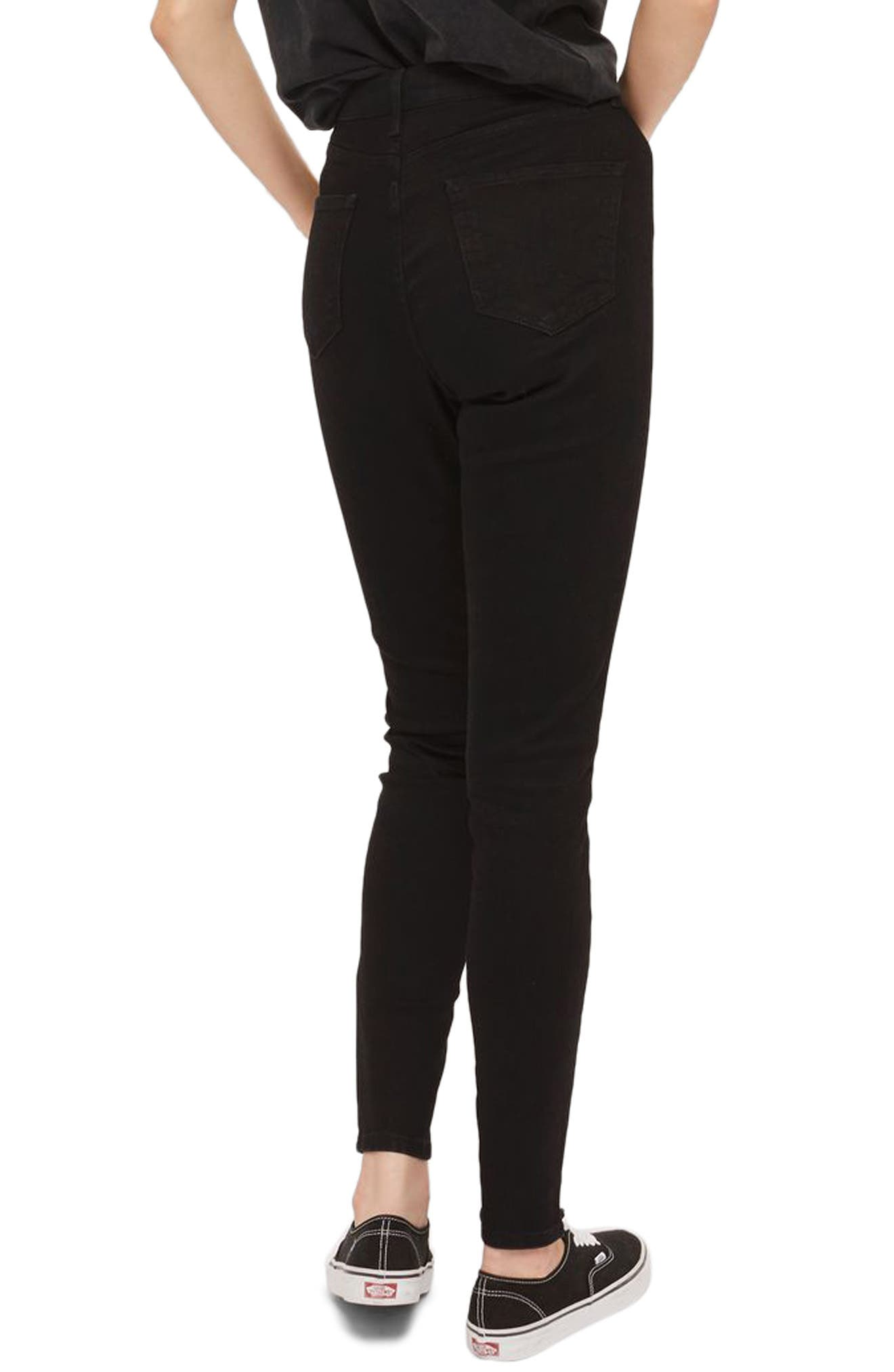 Jamie Front Laced Skinny Jeans,                             Alternate thumbnail 3, color,                             Black