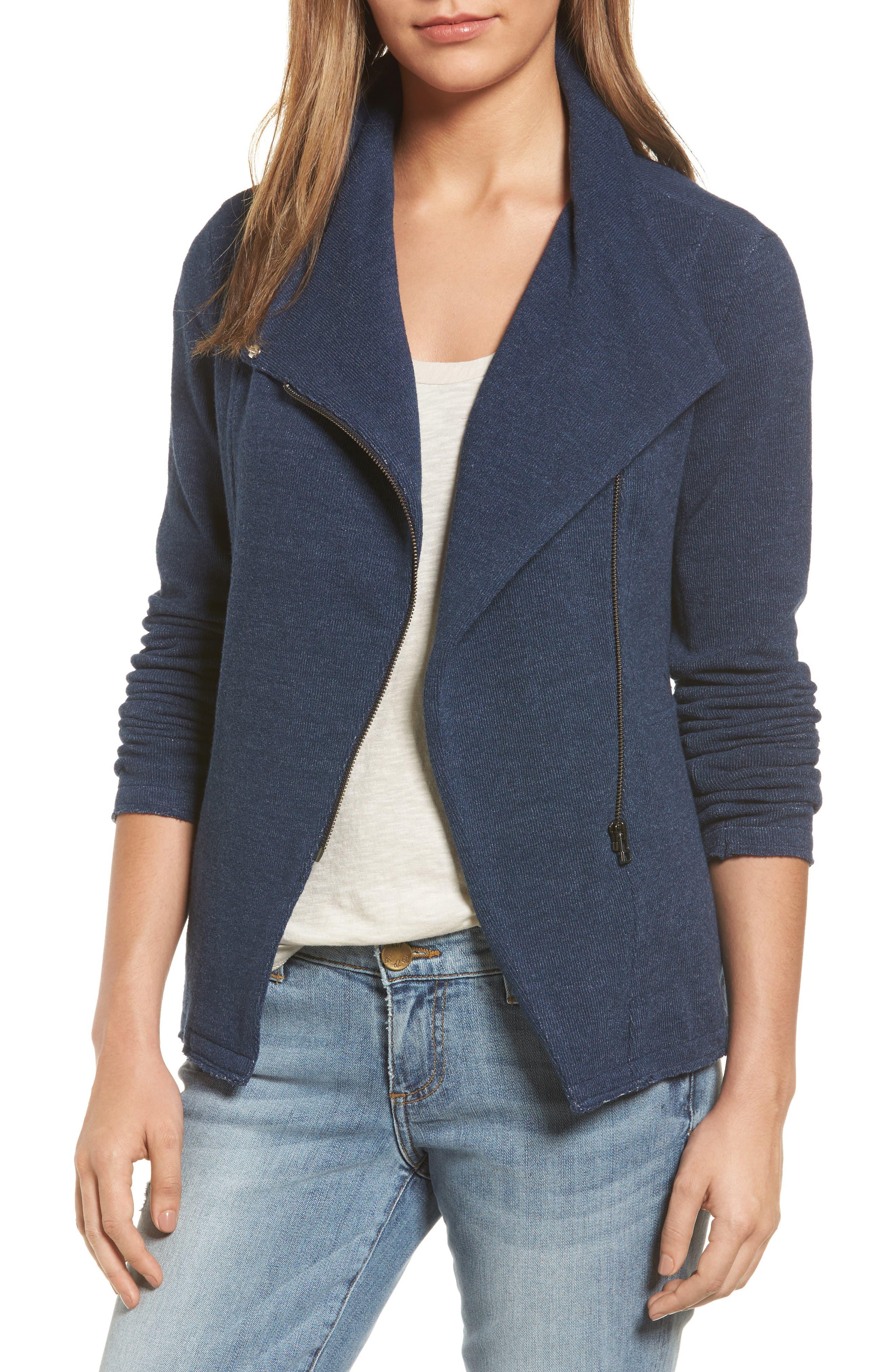 Knit Moto Jacket,                         Main,                         color, Heather Navy Indigo