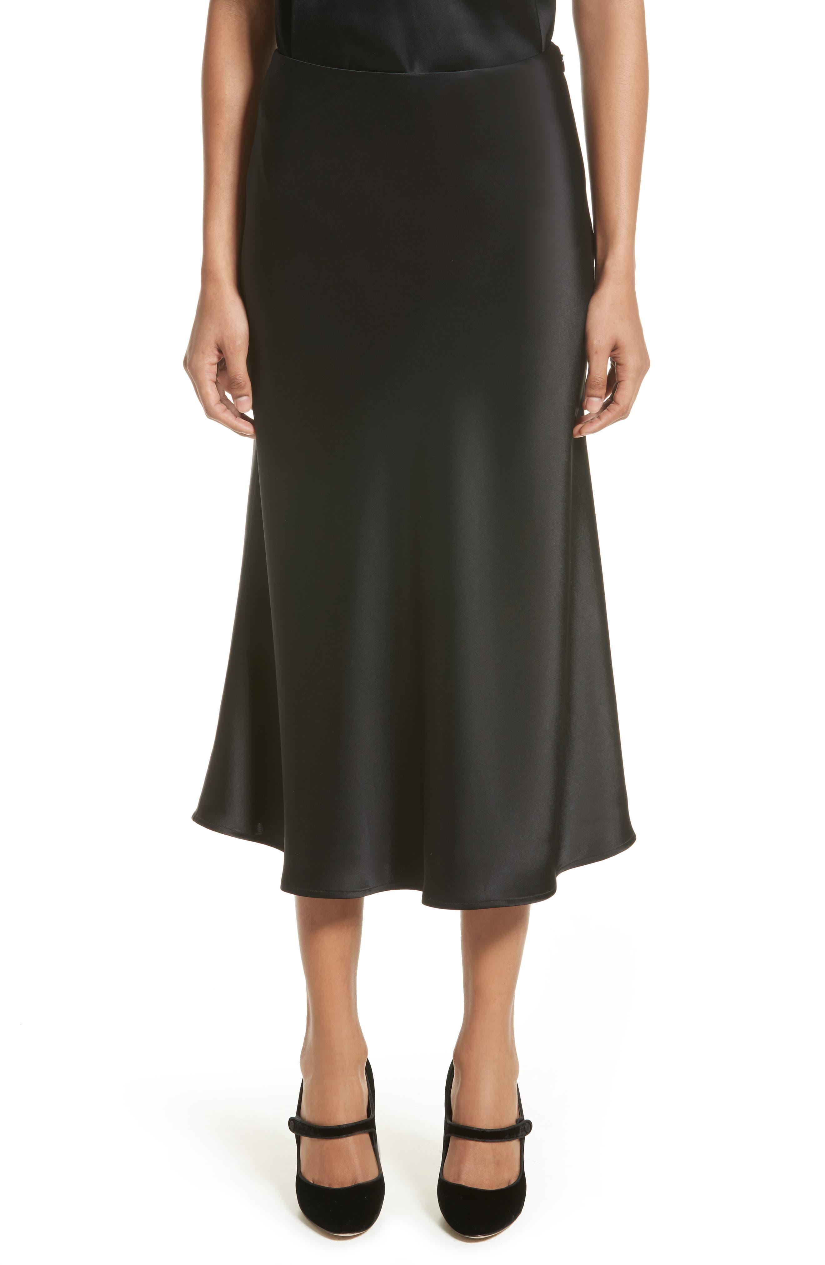 Bias Cut Liquid Satin Flared Skirt,                         Main,                         color, Caviar