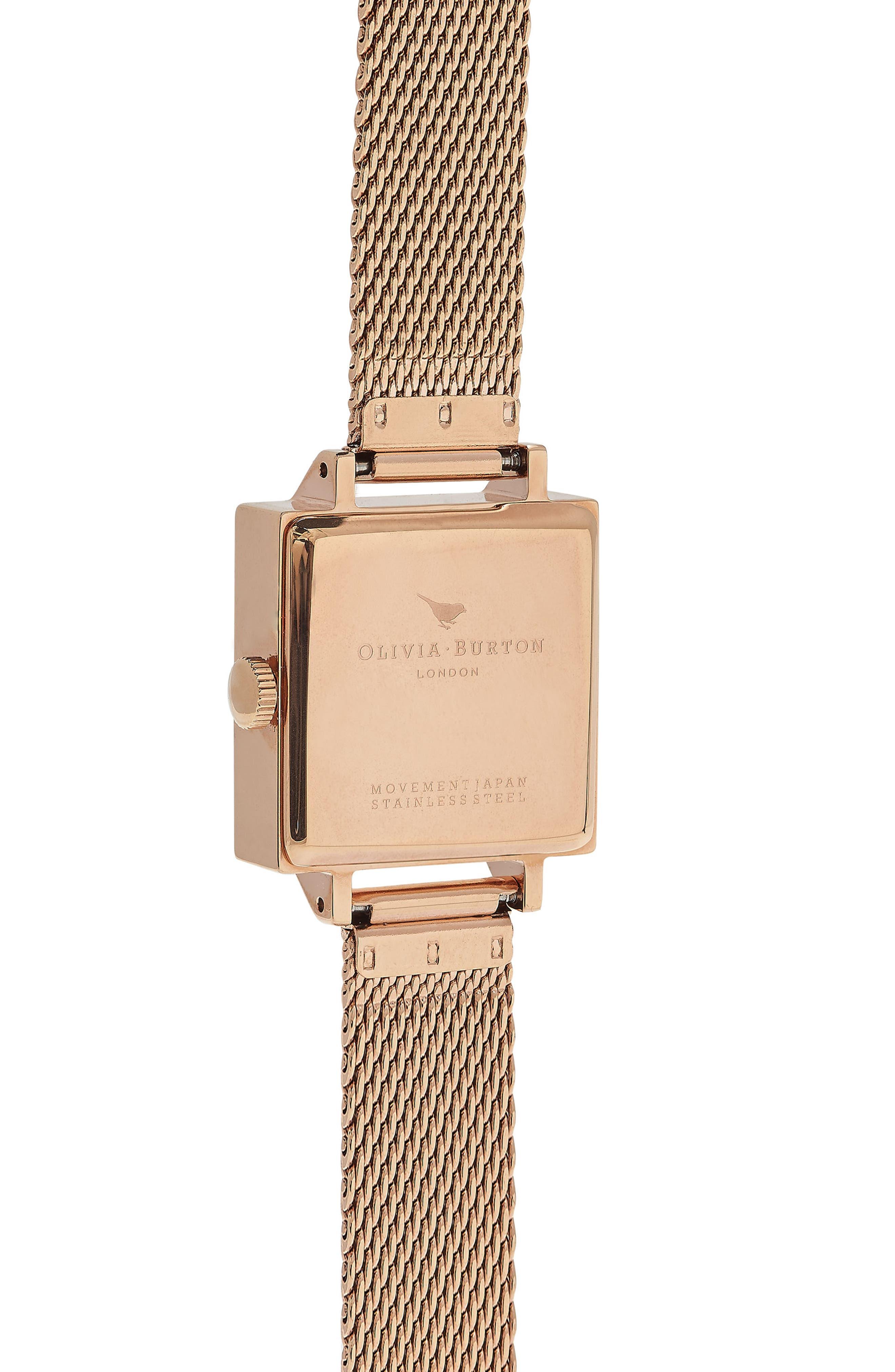 Midi Square Mesh Strap Watch, 22.5mm,                             Alternate thumbnail 2, color,                             Rose Gold/ White/ Rose Gold