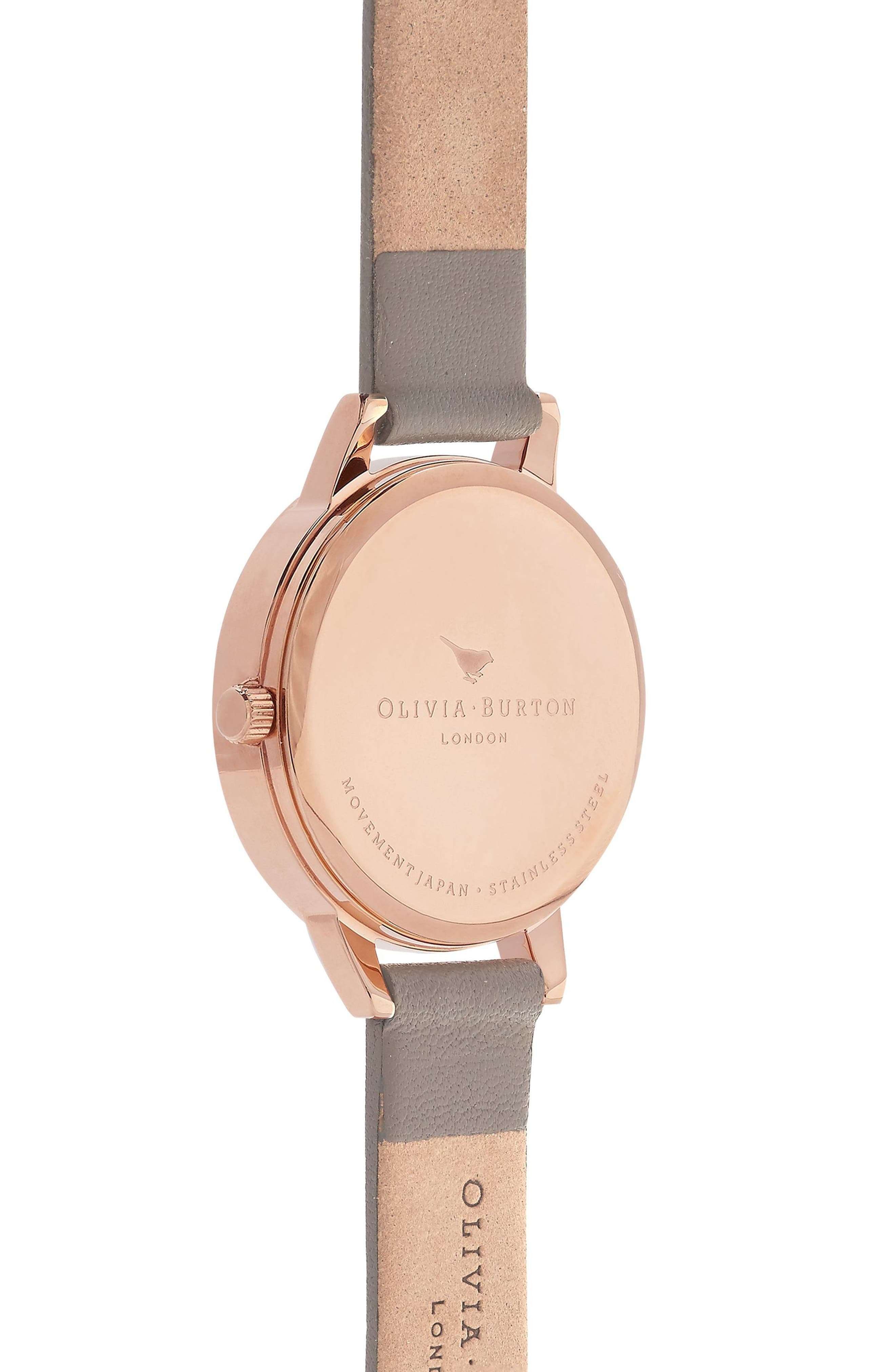 Enchanted Garden Leather Strap Watch, 30mm,                             Alternate thumbnail 2, color,                             Grey/ Floral/ Rose Gold