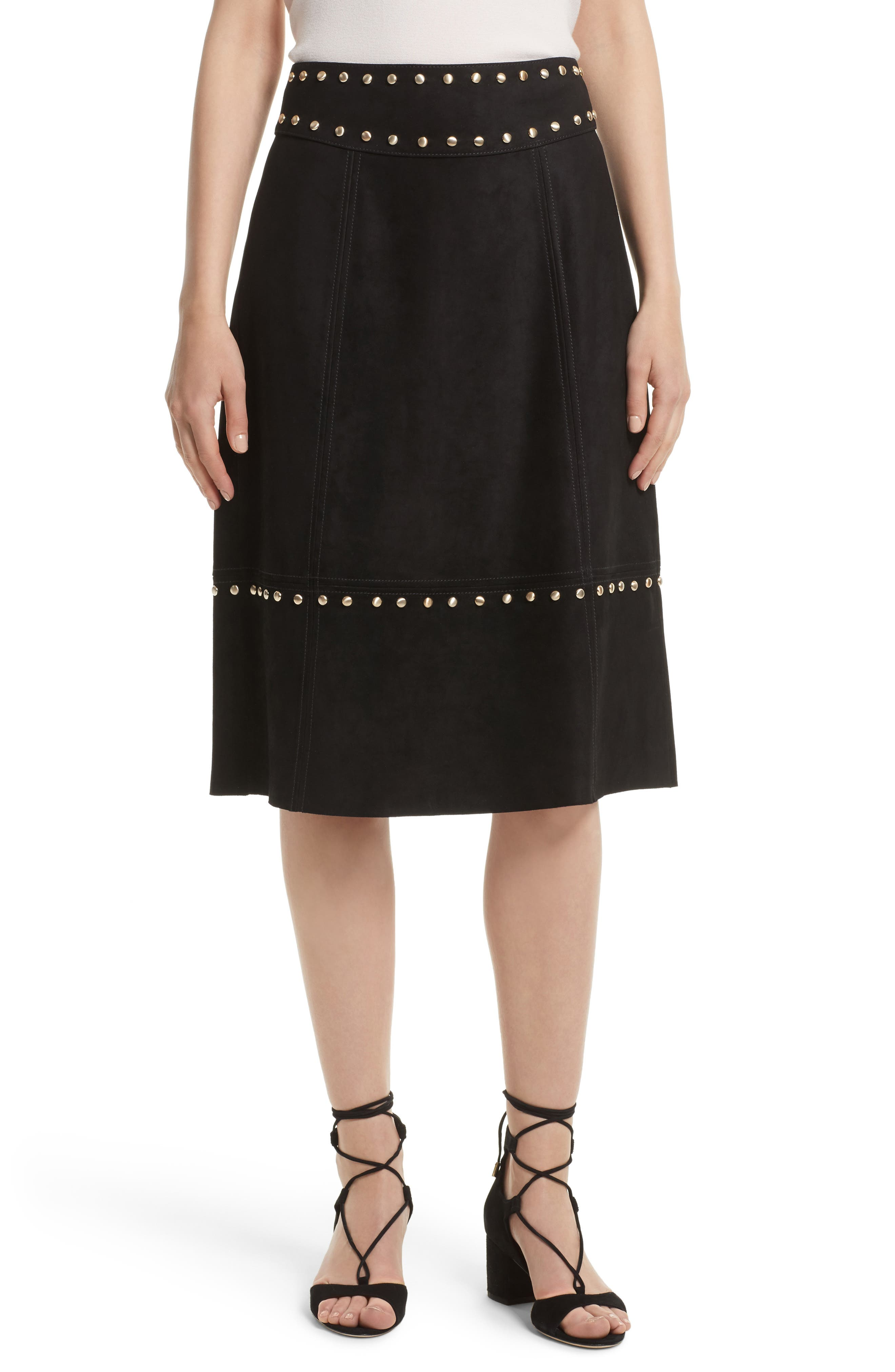 kate spade new york studded suede skirt